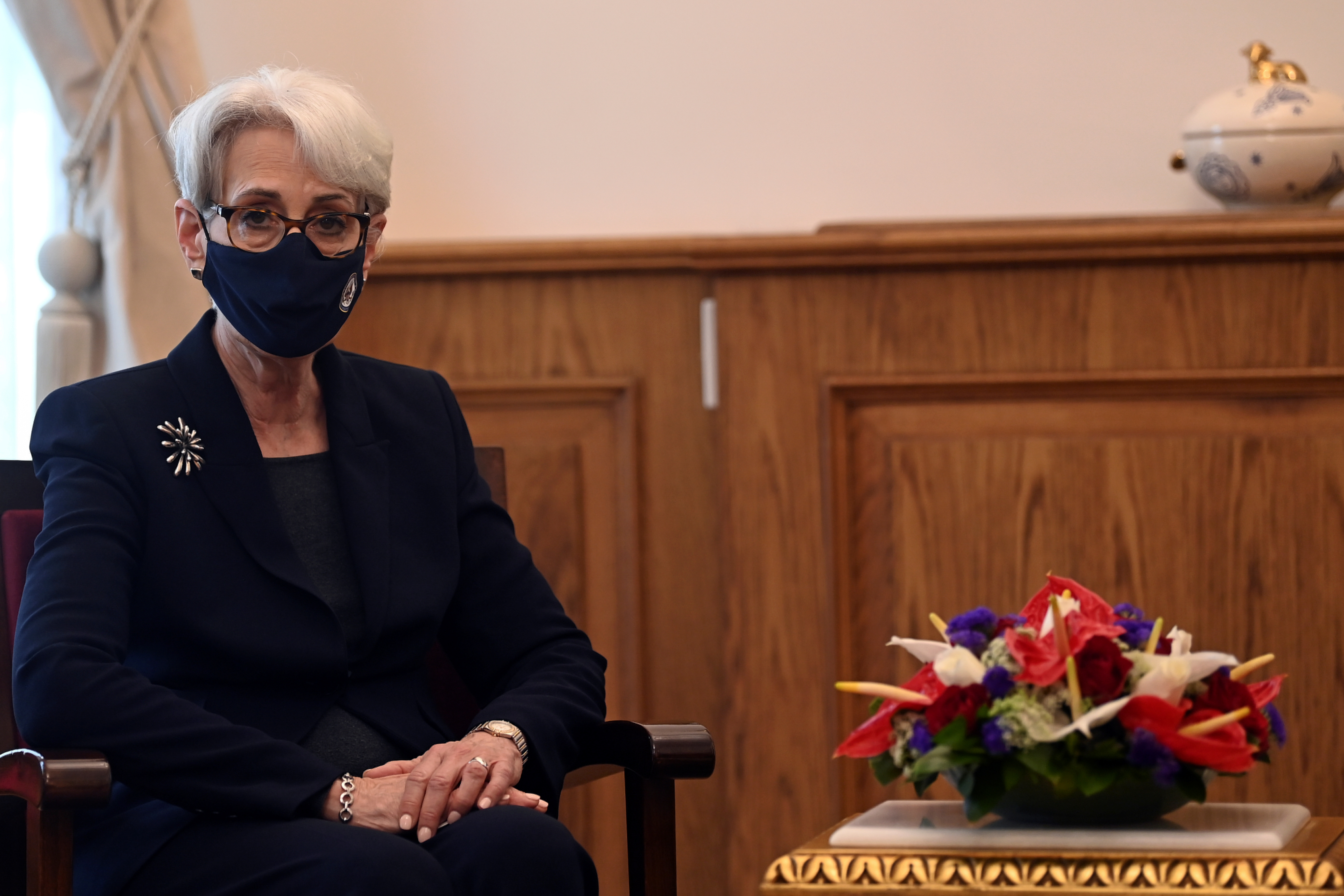 U.S. Deputy Secretary of State Wendy Sherman is seen during her visit to the Orthodox Patriarchate in Istanbul, Turkey May 29, 2021. Ozan Kose/Pool via REUTERS/Files