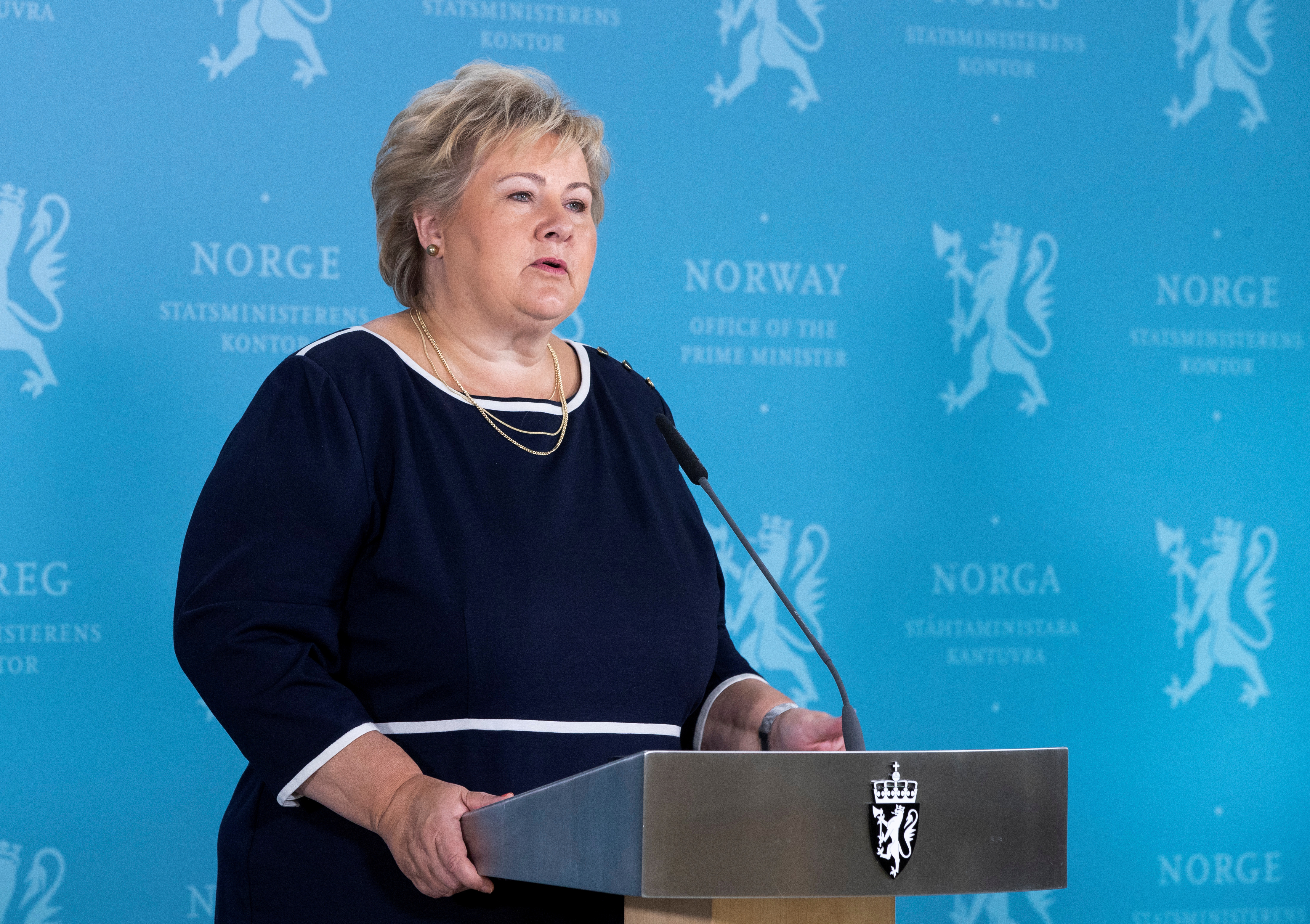 Norway's Prime Minister Erna Solberg speaks during a news conference about the coronavirus disease (COVID-19), in Oslo, Norway September 3, 2020. Berit Roald/NTB Scanpix/via REUTERS/File Photo