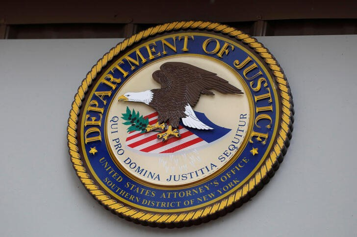 The seal of the United States Department of Justice seen in New York. REUTERS/Andrew Kelly