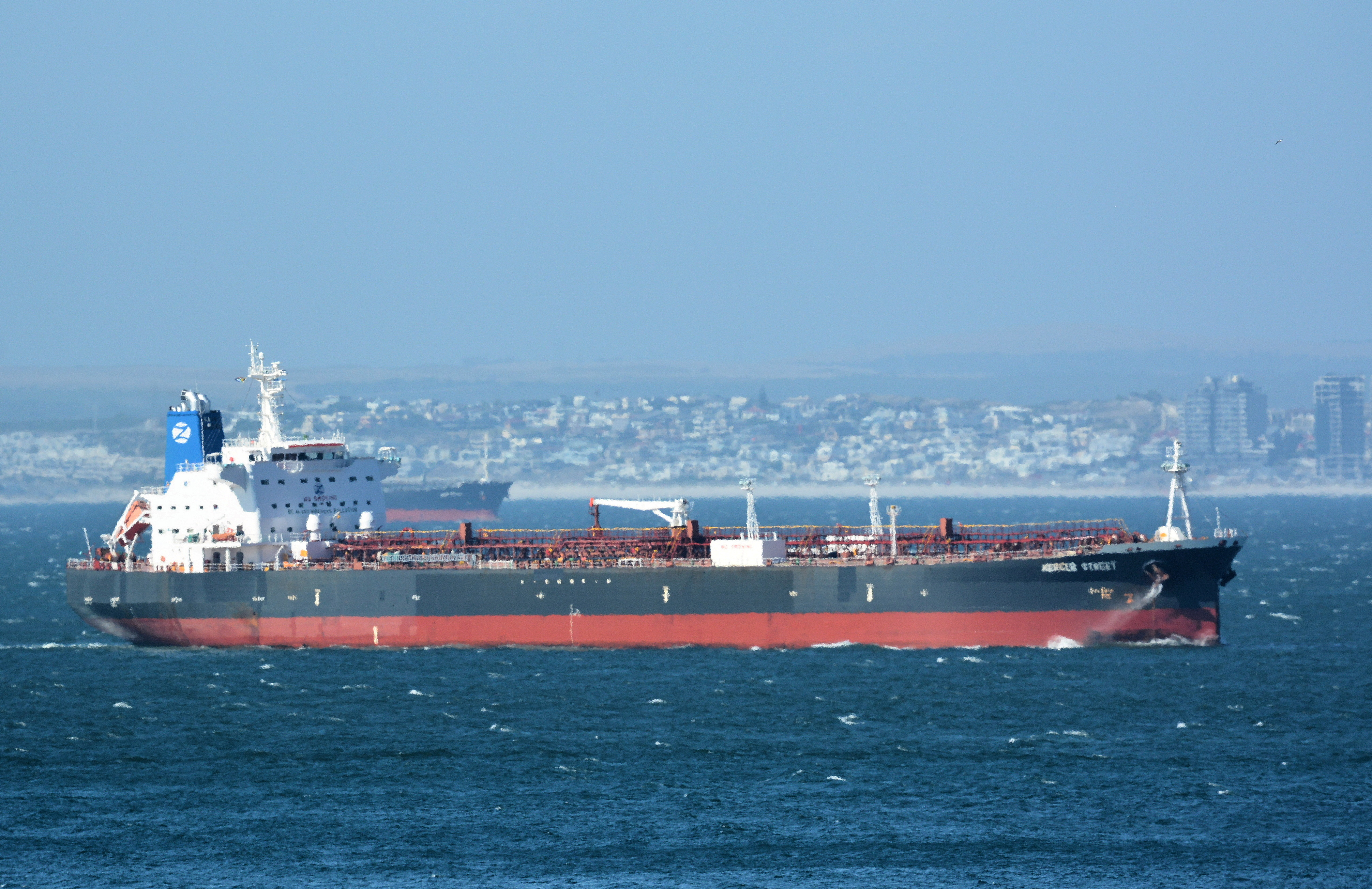 The Mercer Street, a Japanese-owned Liberian-flagged tanker managed by Israeli-owned Zodiac Maritime that was attacked off Oman coast as seen in Cape Town, South Africa, December 31, 2015 in this picture obtained from ship tracker website, MarineTraffic.com. Johan Victor/Handout via REUTERS