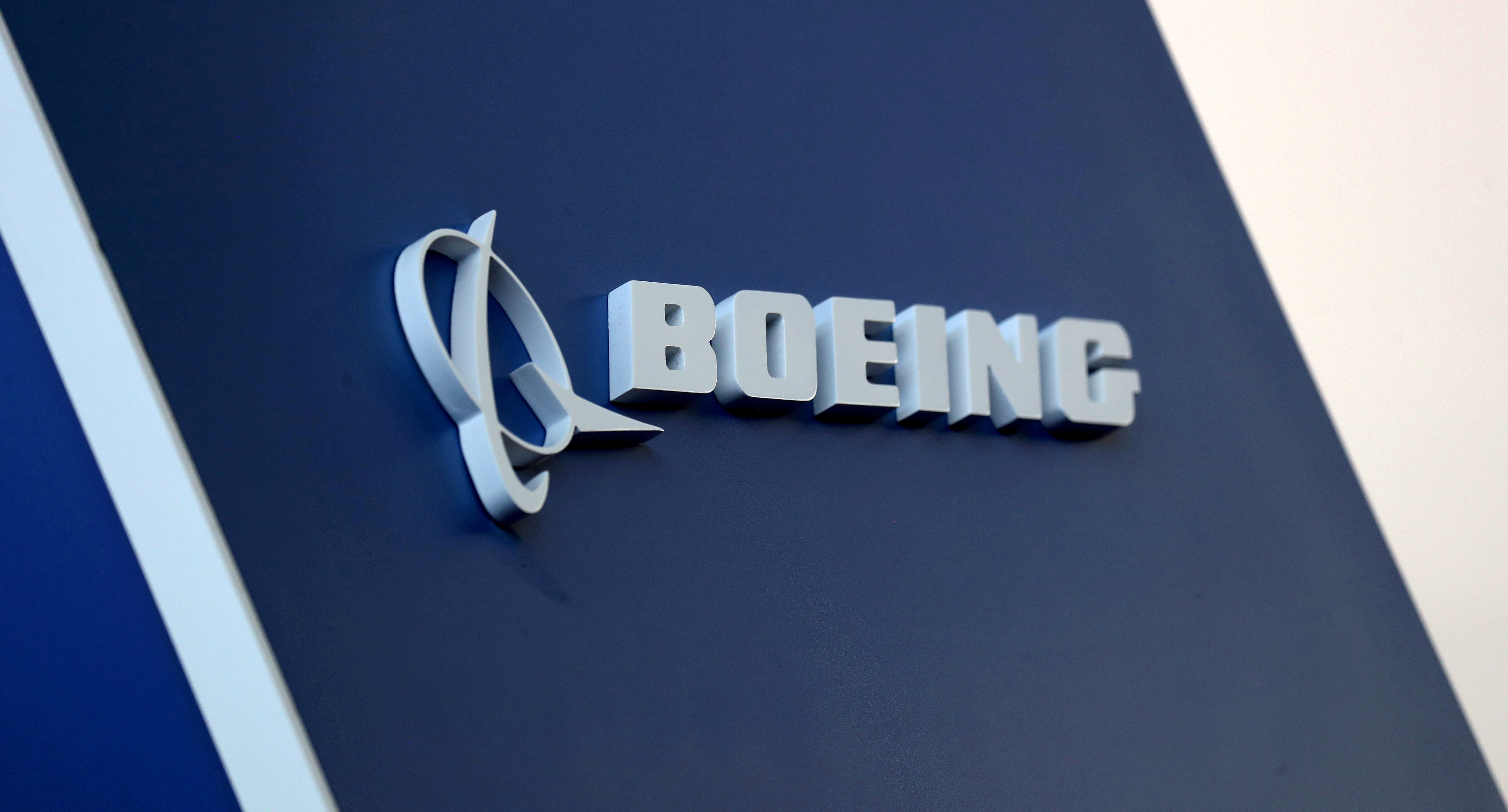 FILE PHOTO: The Boeing logo is pictured at the Latin American Business Aviation Conference & Exhibition fair at Congonhas Airport in Sao Paulo, Brazil August 14, 2018. REUTERS/Paulo Whitaker//File Photo/File Photo