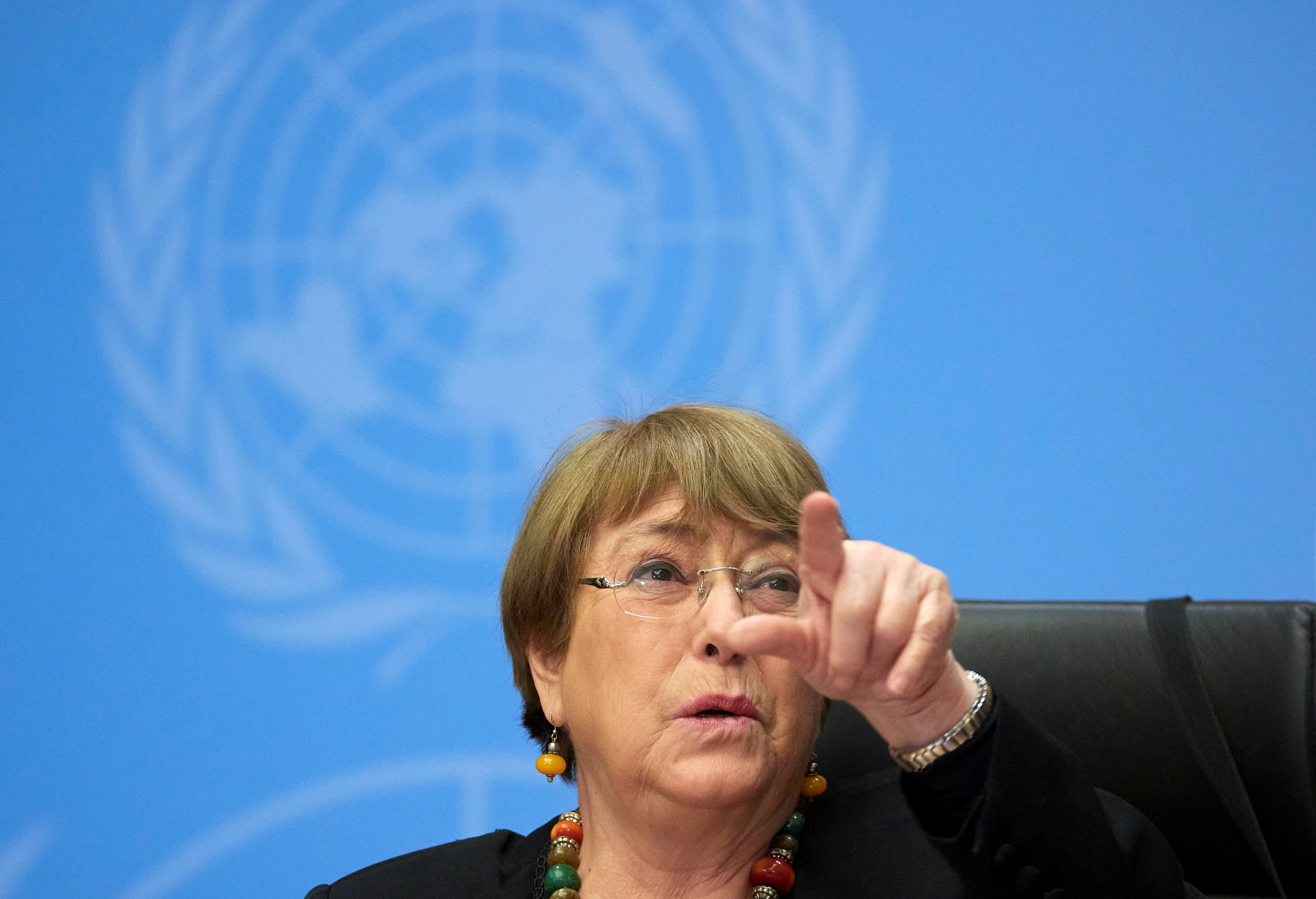 U.N. High Commissioner for Human Rights Michelle Bachelet gestures during a news conference at the European headquarters of the United Nations in Geneva, Switzerland, December 9, 2020. REUTERS/Denis Balibouse