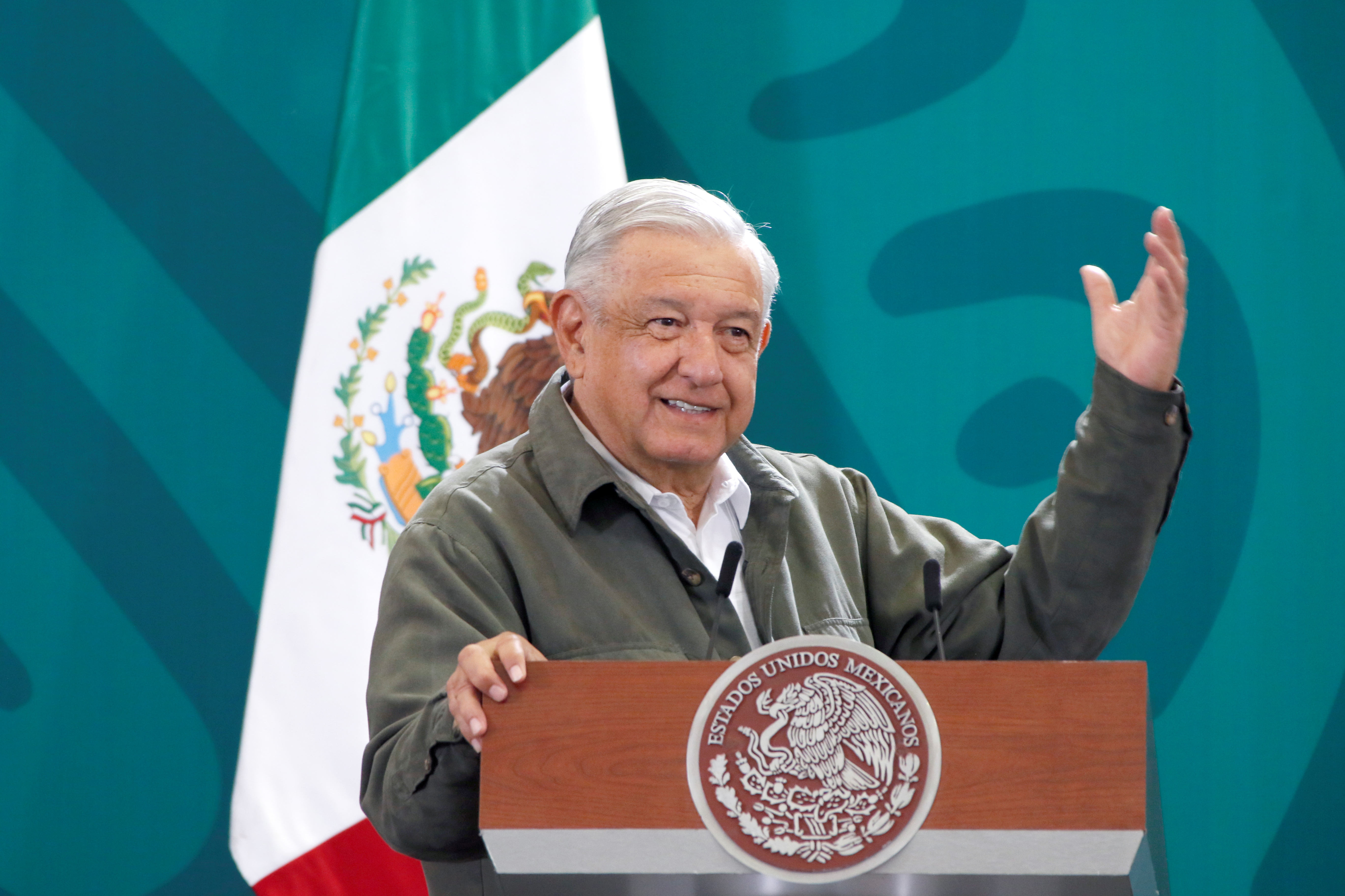 Mexico's President Andres Manuel Lopez Obrador gestures during a news conference as he proposes an electricity reform to Congress seeking to boost the role of the state power utility, in Cuernavaca, Mexico October 1, 2021. Mexico's Presidency/Handout via REUTERS/Files