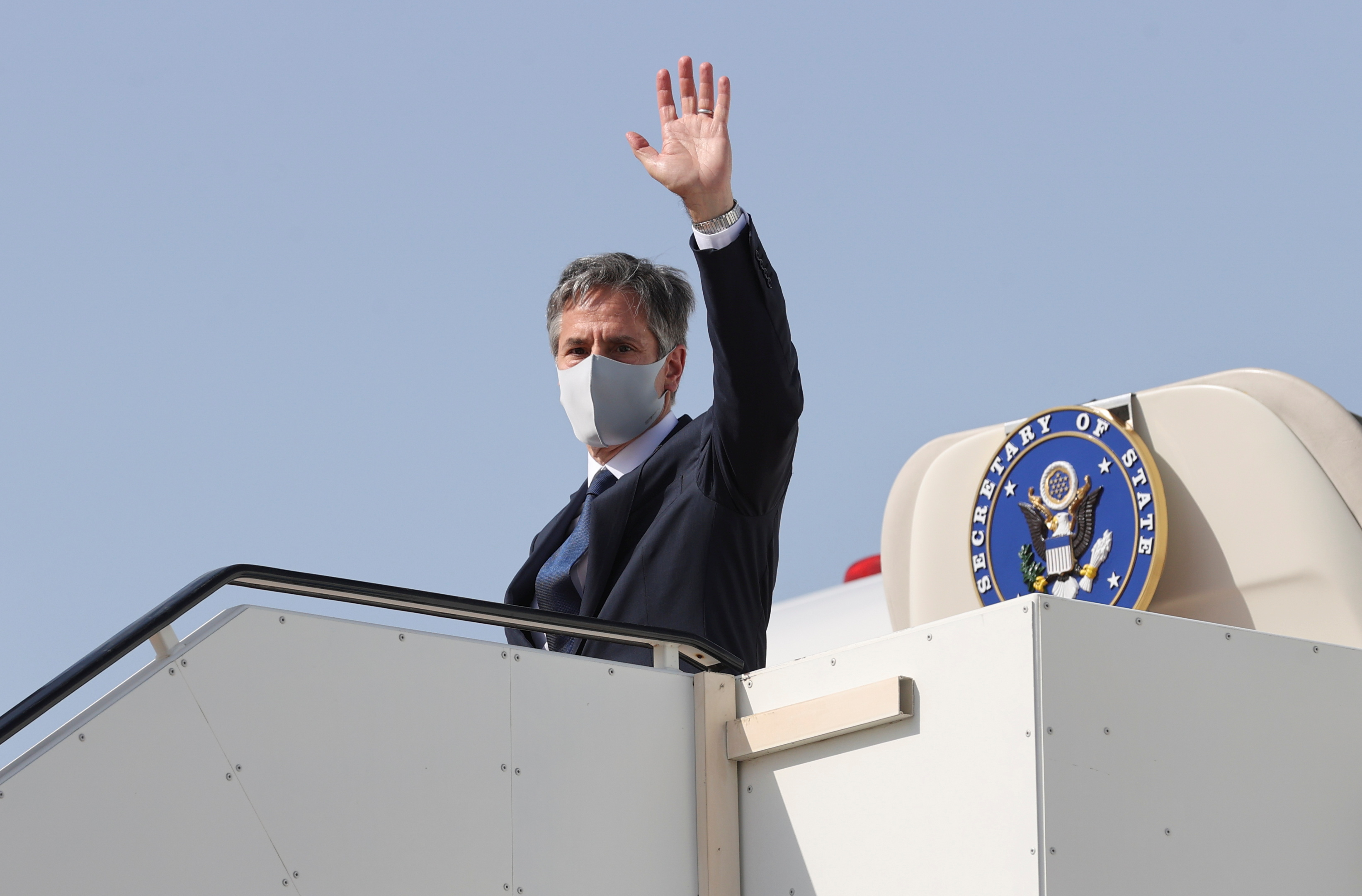 U.S. Secretary of State Antony Blinken boards his plane to depart for his return to the United States from Kuwait International Airport in Kuwait City, Kuwait, July 29, 2021. REUTERS/Jonathan Ernst/Pool