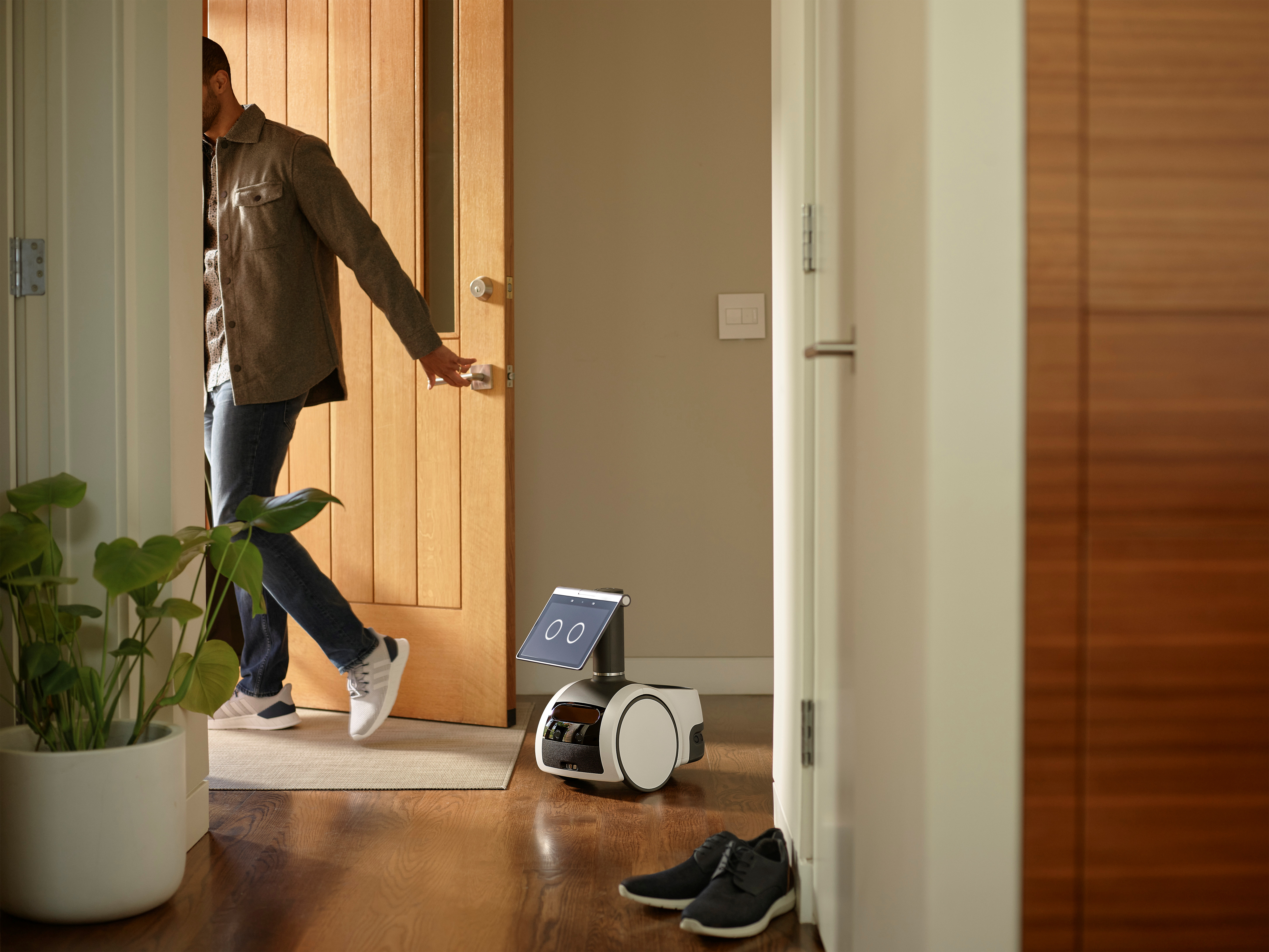 A roving, canine-like household robot called Astro is seen in an undated photograph provided by Amazon September 28, 2021. Amazon/Handout via REUTERS
