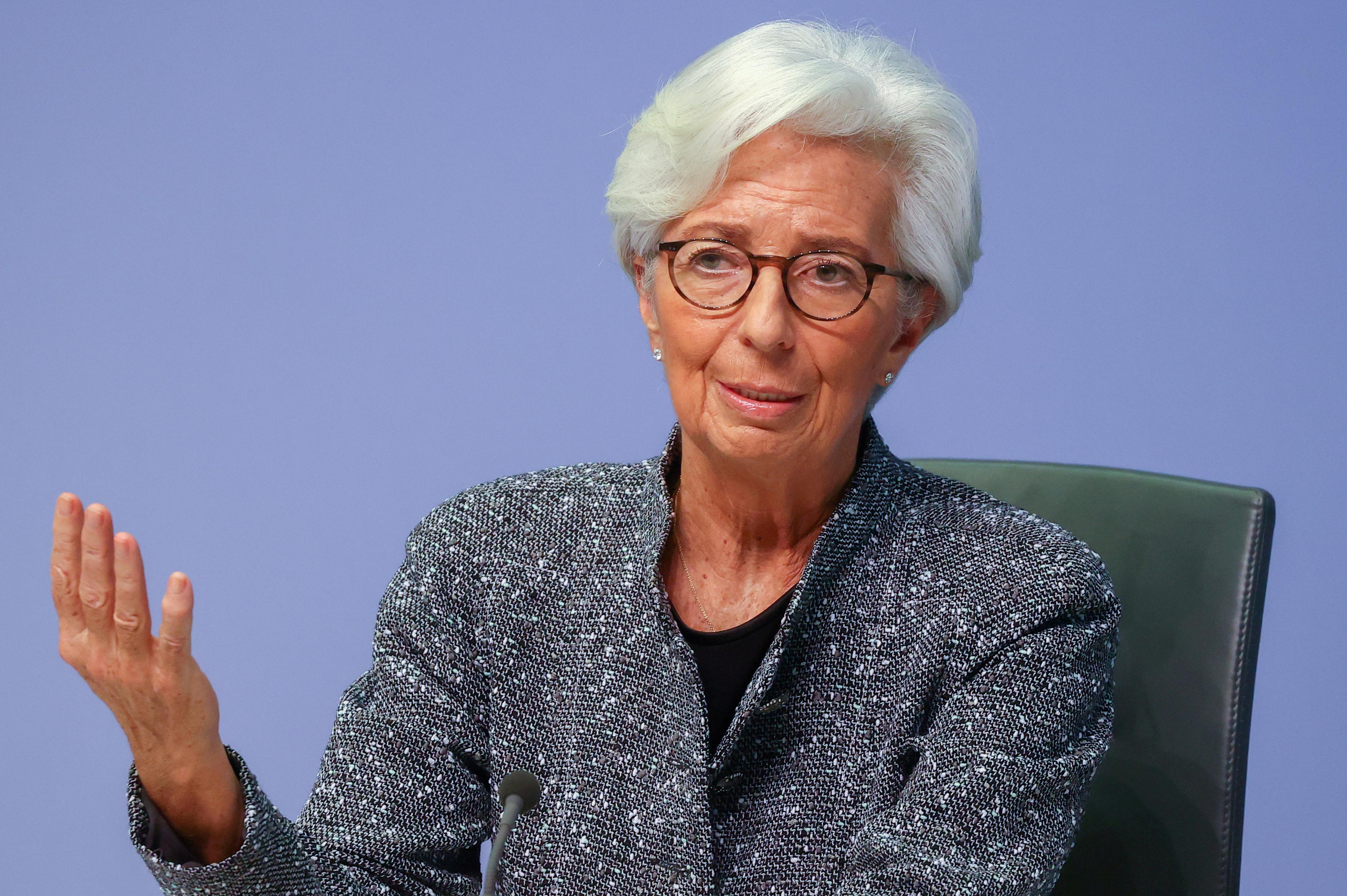 European Central Bank (ECB) President Christine Lagarde in Frankfurt, Germany, March 12, 2020. REUTERS/Kai Pfaffenbach/File Photo