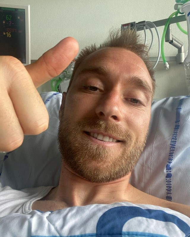 Danish footballer Christian Eriksen gives a thumbs-up at Rigshospitalet, where he is treated after he collapsed during a UEFA Euro 2020 game on Saturday, in Copenhagen, Denmark, in this picture obtained from social media. Picture published June 15, 2021. Danish Football Association/via REUTERS