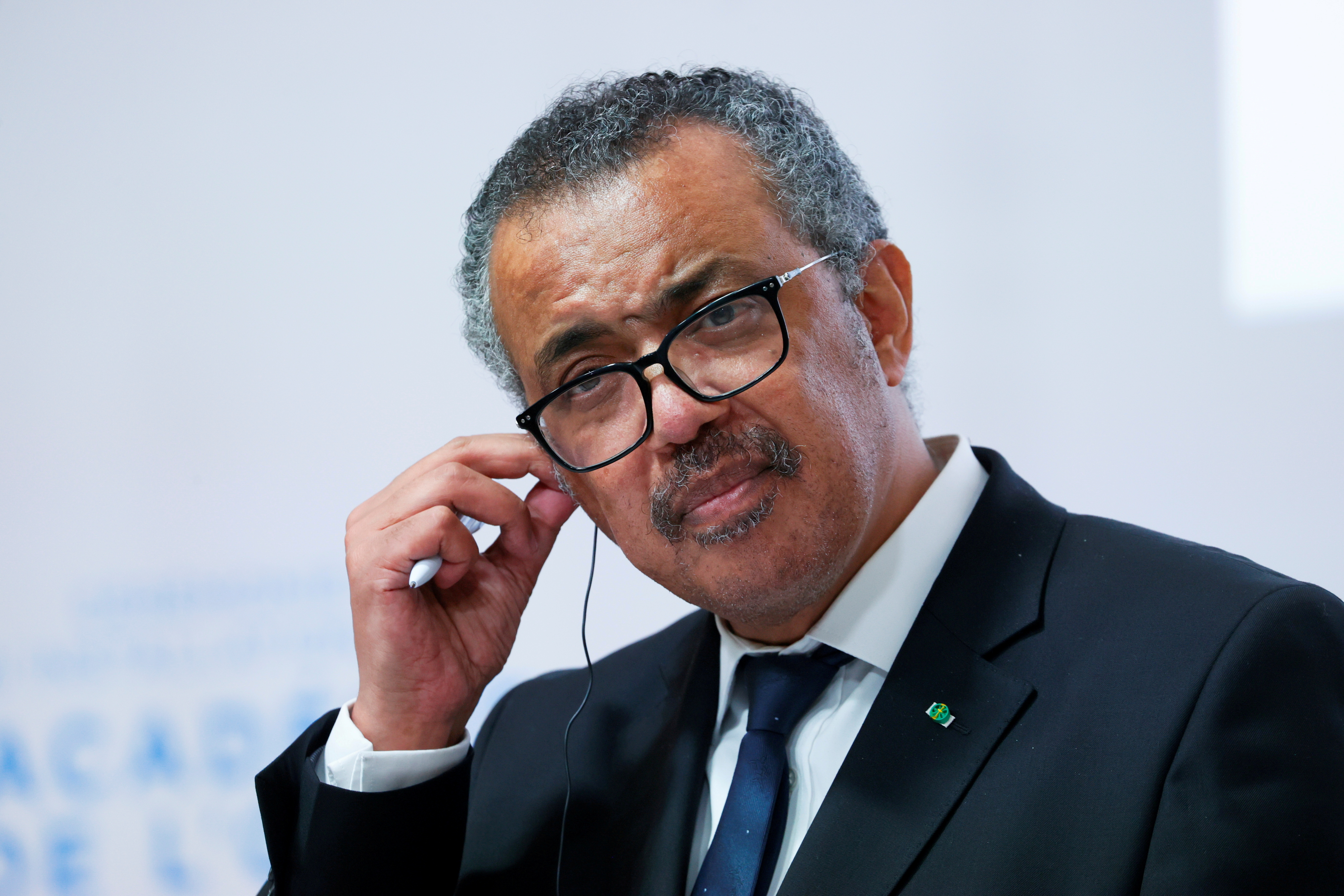 WHO Director-General Tedros Adhanom Ghebreyesus attends a news conference after a ceremony for the opening of the WHO Academy, in Lyon, France, September 27, 2021. REUTERS/Denis Balibouse