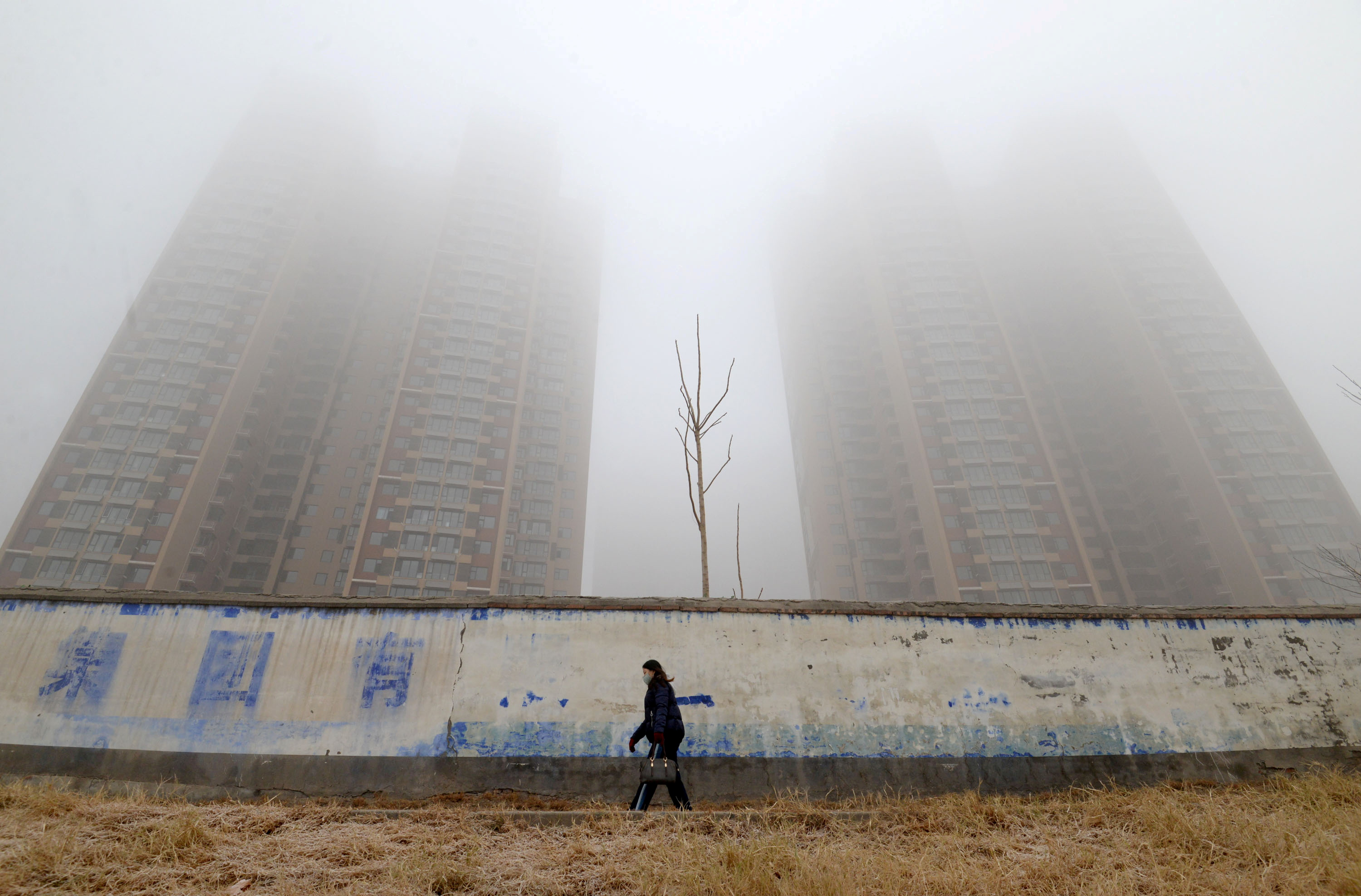 A woman wearing a mask walks past buildings on a polluted day in Handan, Hebei province, China January 12, 2019. REUTERS/Stringer