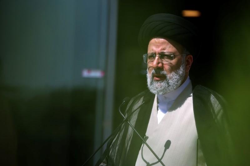 Presidential candidate Ebrahim Raisi speaks with journalists before the start of the last election debate, in Tehran, Iran June 12, 2021. Ayoub Ghaderi/YJC/WANA (West Asia News Agency) via REUTERS