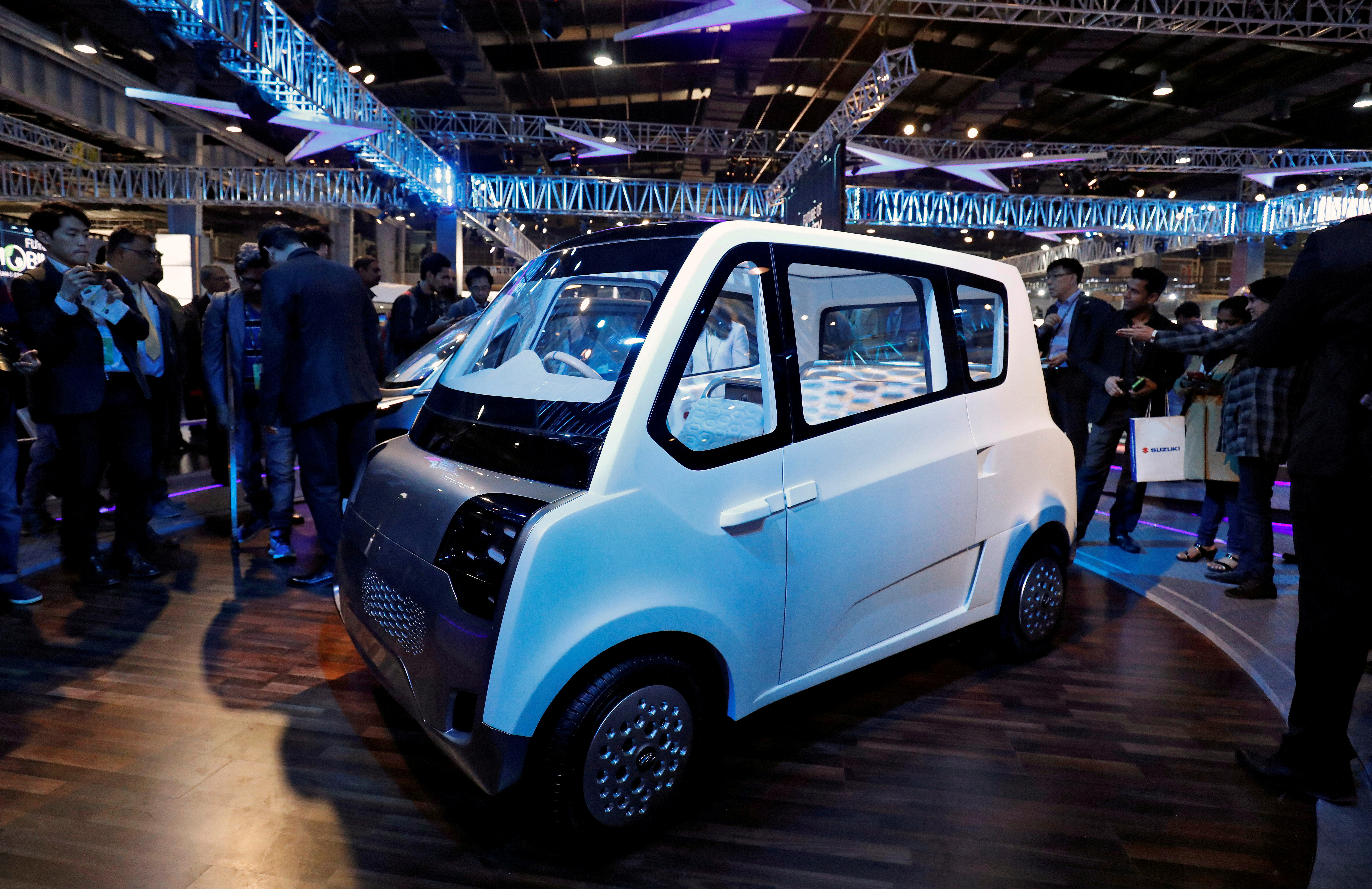 Mahindra showcases its new electric vehicle, ATOM, at the India Auto Show in Greater Noida, India, February 7, 2018. REUTERS/Saumya Khandelwal