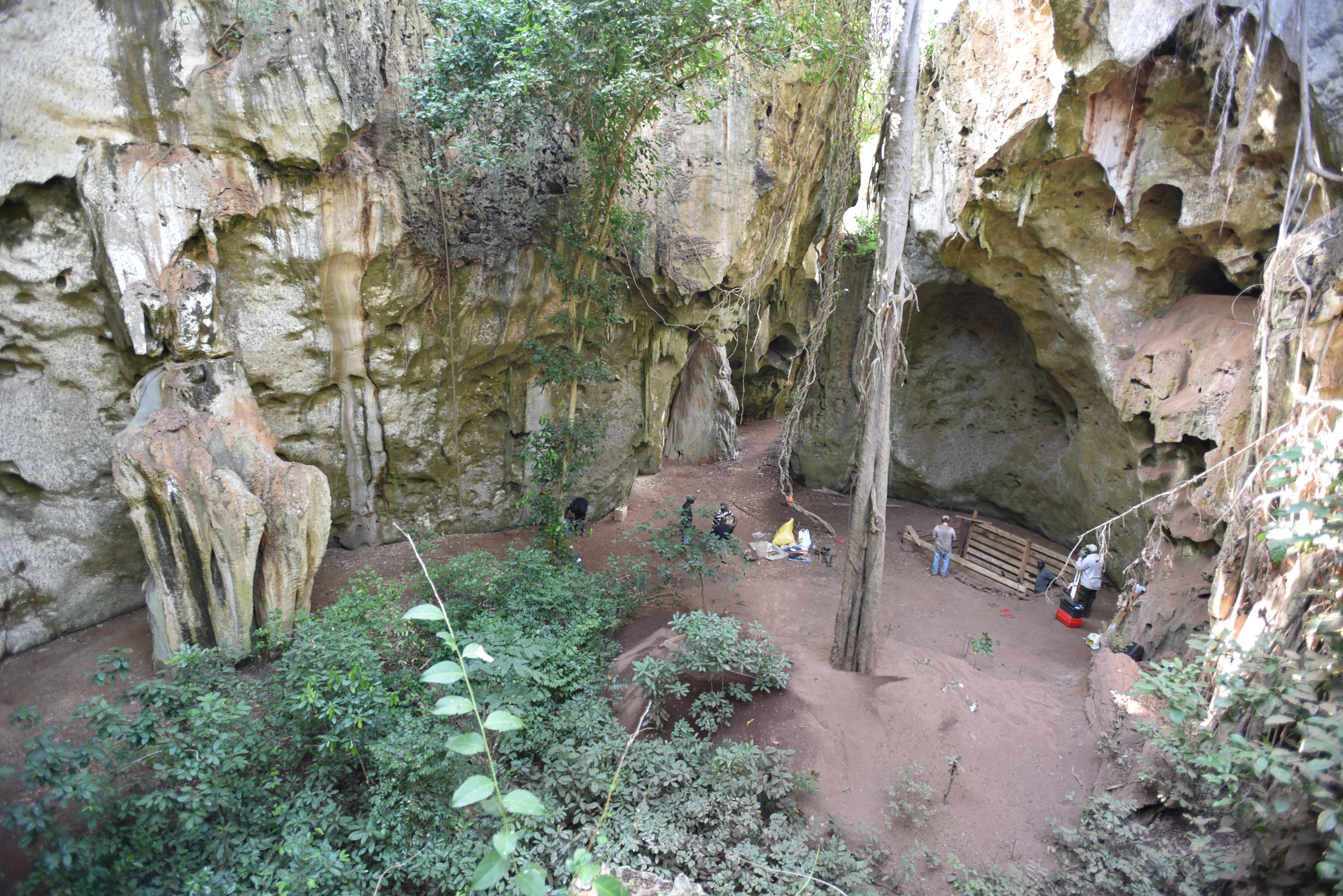 The cave site of Panga ya Saidi, in Kenya's Kilifi County is seen in this undated photograph. The remains of a child, roughly aged 3 who lived about 78,000 years ago, were found in a burial pit at the mouth of the cave, the oldest-known human burial in Africa.   Mohammad Javad Shoaee/Handout via REUTERS