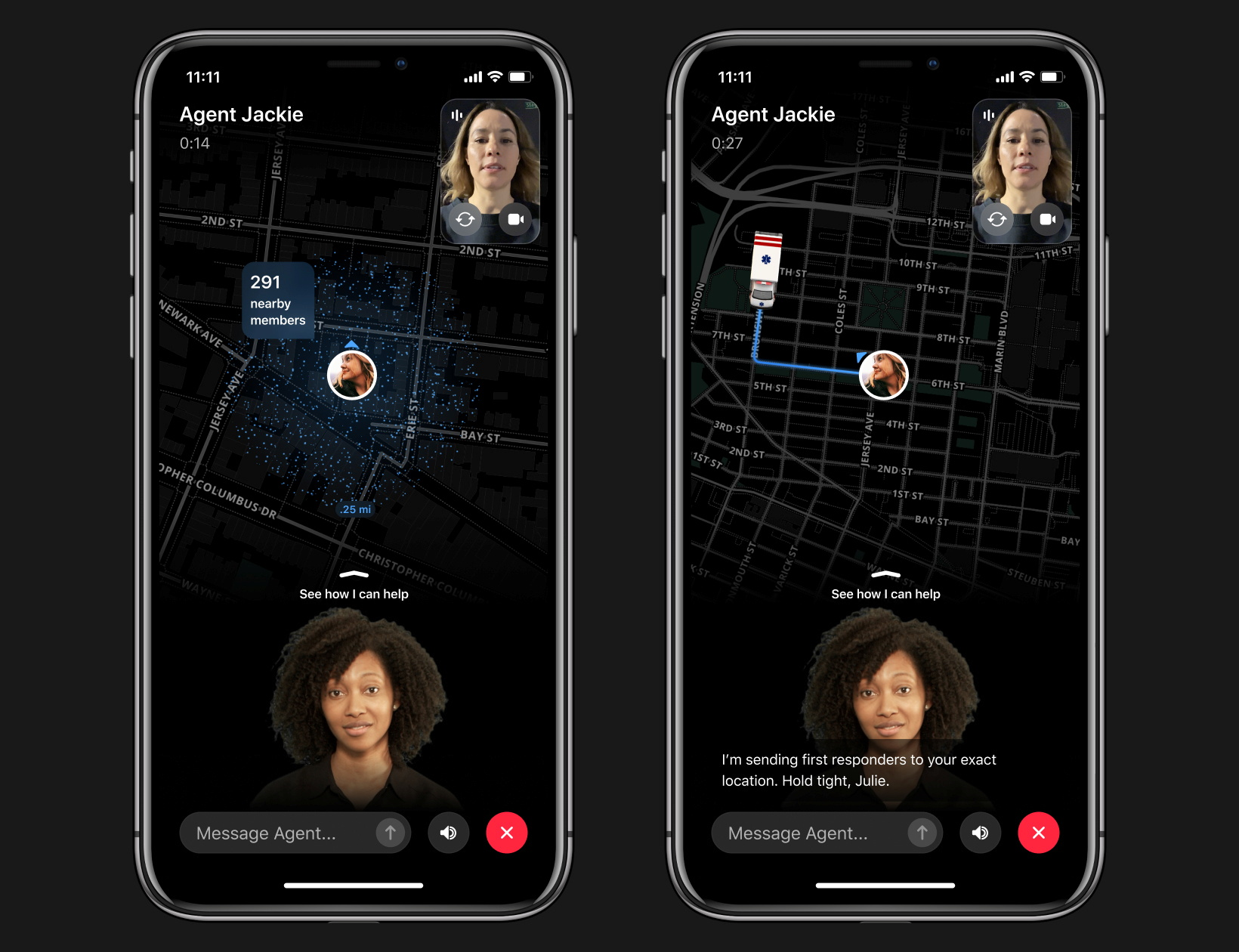Local crime alert app Citizen's new feature 'Protect', which puts paying subscribers in contact with safety agents, is seen in this handout image provided by the company. Citizen/sp0n, Inc./Handout via REUTERS