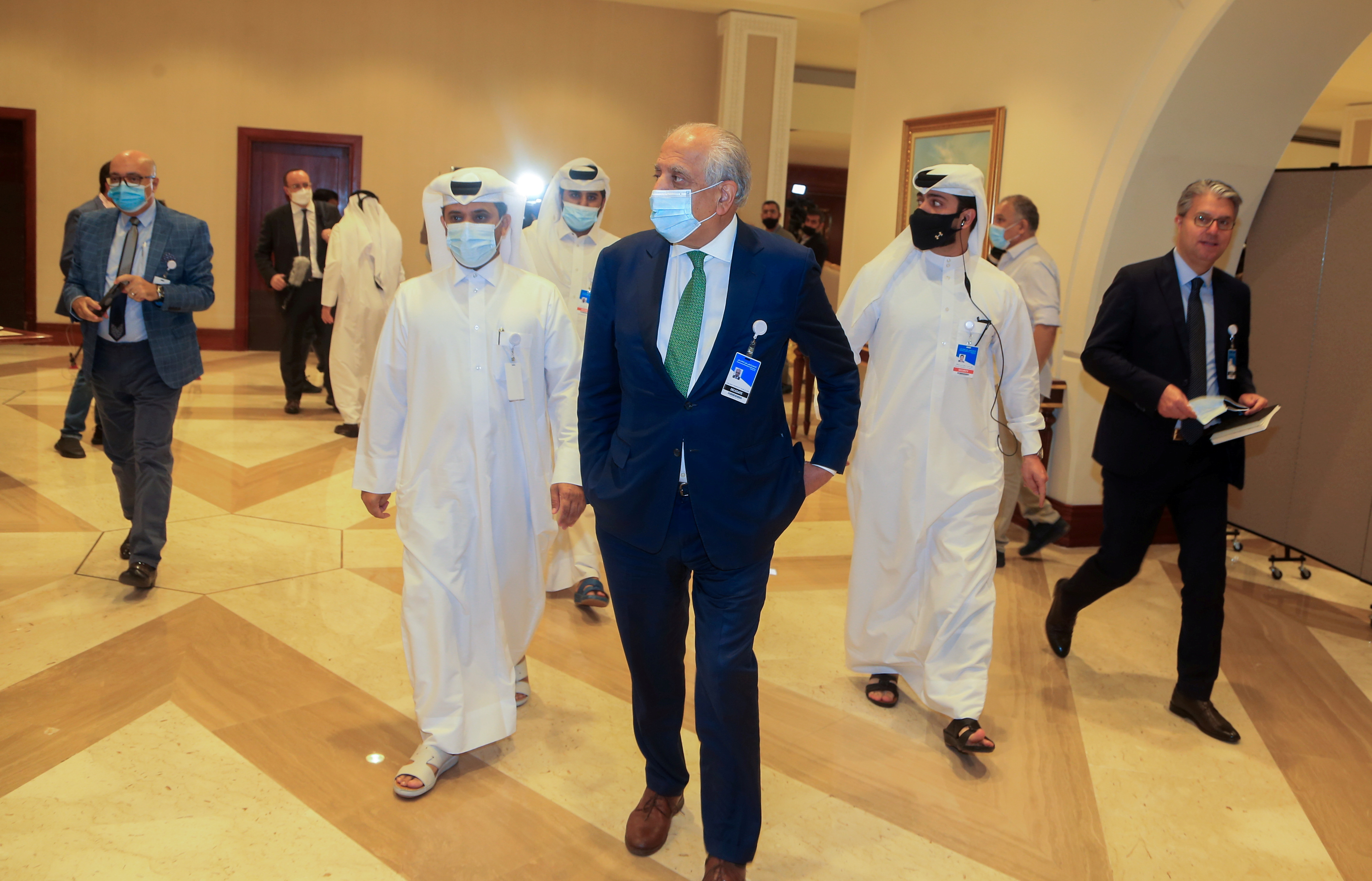 Zalmay Khalilzad, U.S. special envoy for Afghanistan, arrives for Afghan peace talks in Doha, Qatar, August 12, 2021. REUTERS/Hussein Sayed