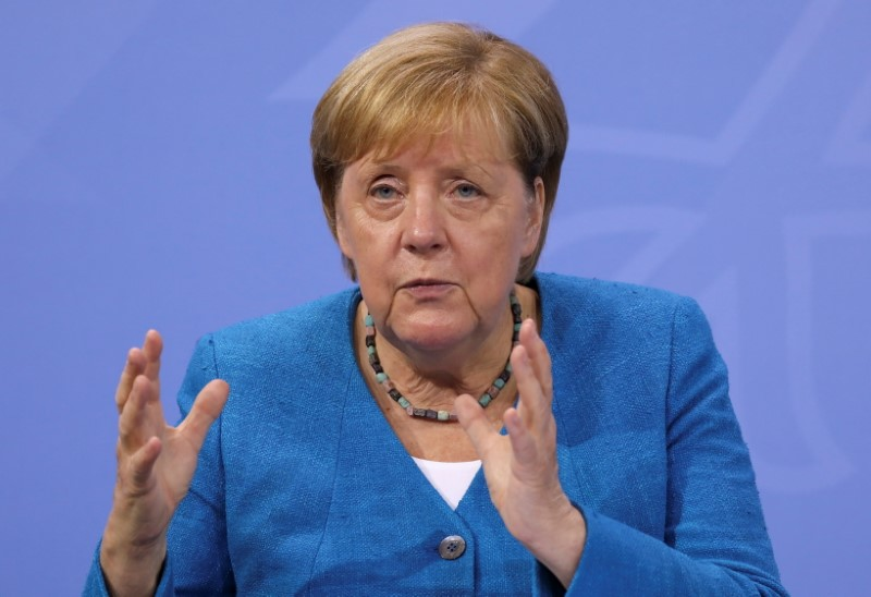 German Chancellor Angela Merkel attends a news conference following talks with state leaders to discuss anti-coronavirus measures at the Chancellery in Berlin, Germany August 10, 2021. REUTERS/Christian Mang/Pool