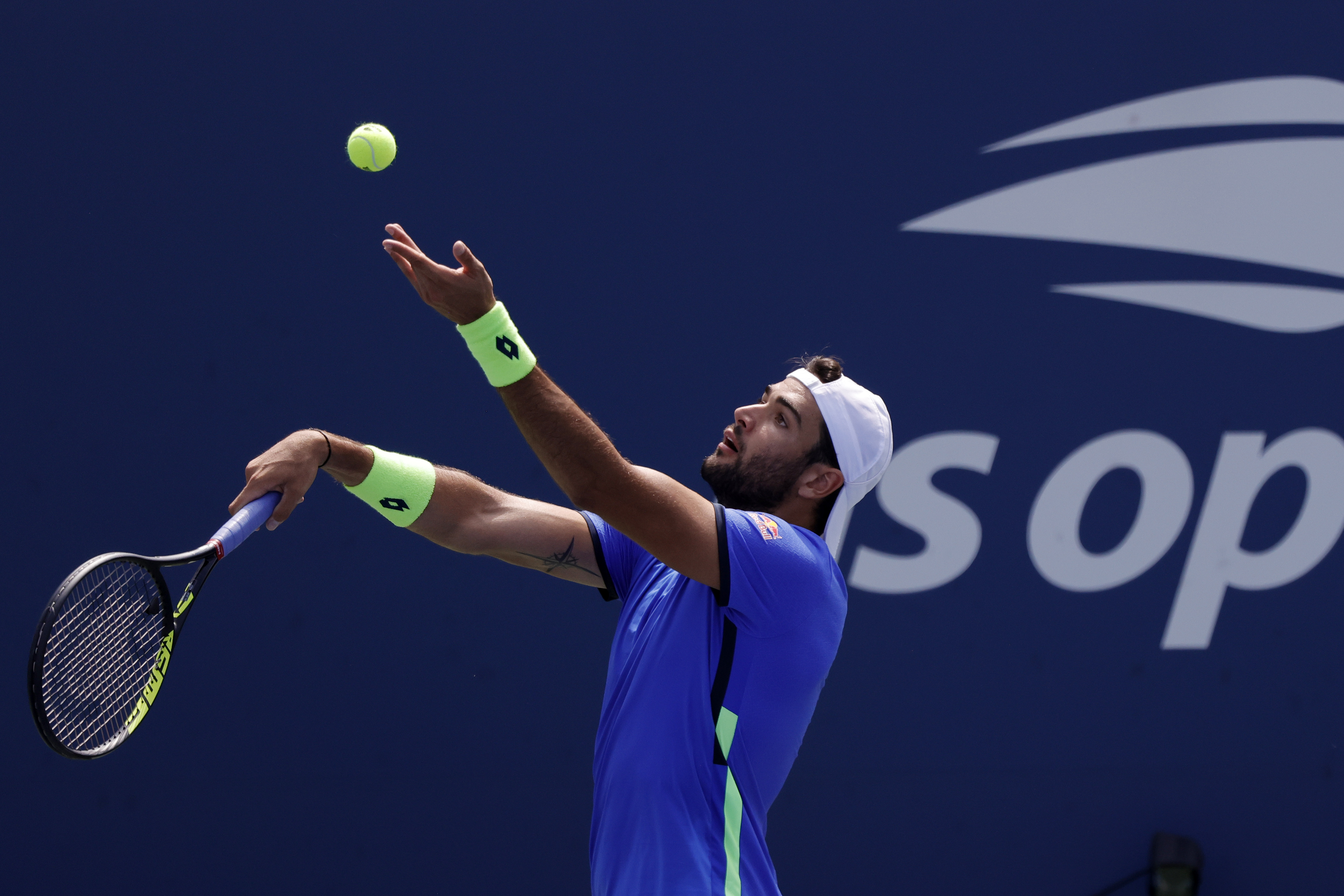 Sep 4, 2021; Flushing, NY, USA; Matteo Berrettini of Italy serves against Ilya Ivashka of Belarus (not pictured) on day six of the 2021 U.S. Open tennis tournament at USTA Billie Jean King National Tennis Center. Mandatory Credit: Geoff Burke-USA TODAY Sports