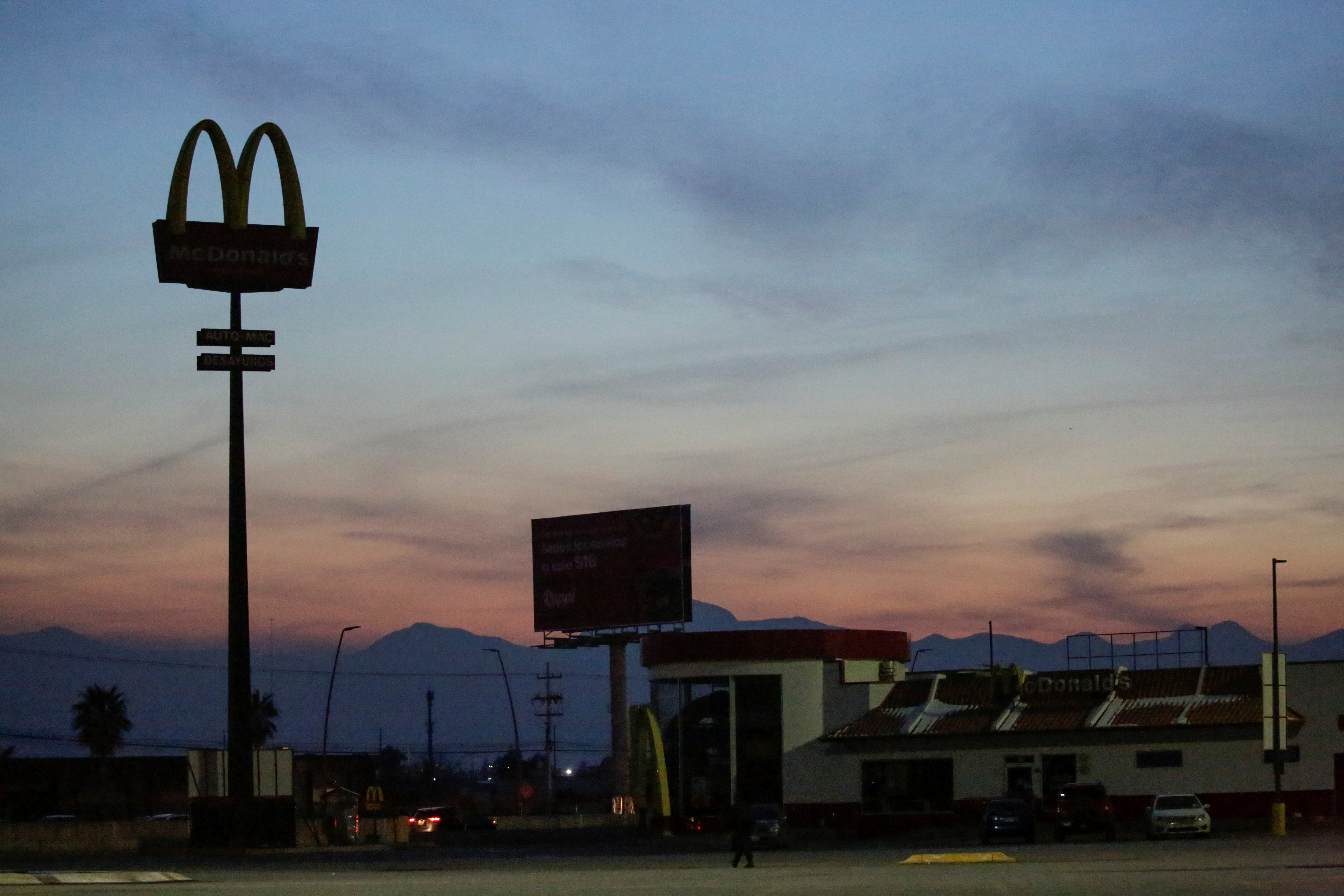 A McDonald's restaurant is seen without power during an outage in Mexico's electricity network, in Ciudad Juarez, Mexico February 15, 2021. REUTERS/Jose Luis Gonzalez