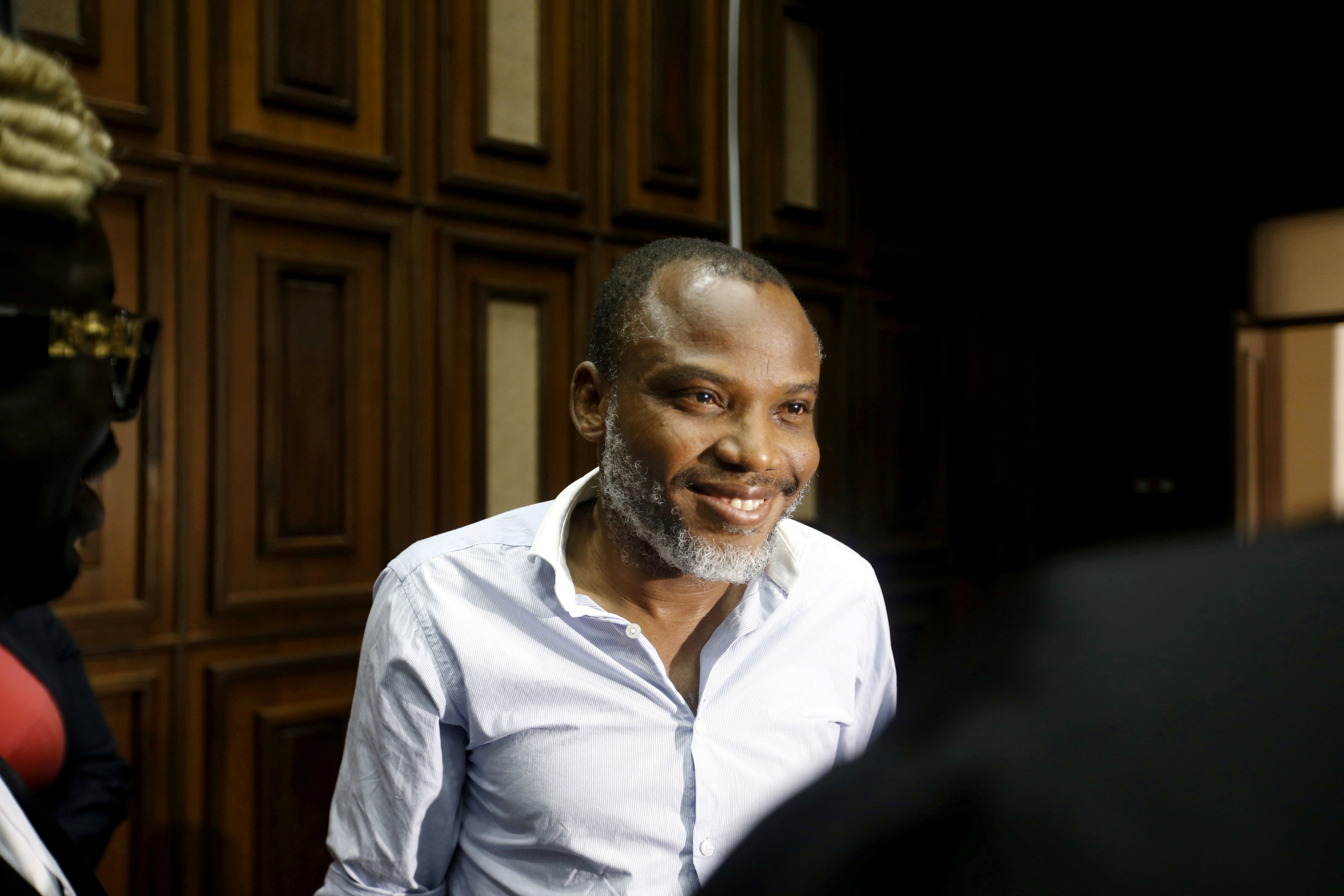 Indigenous People of Biafra (IPOB) leader Nnamdi Kanu is seen at the Federal high court Abuja, Nigeria, on January 20, 2016. REUTERS/Afolabi Sotunde/File Photo