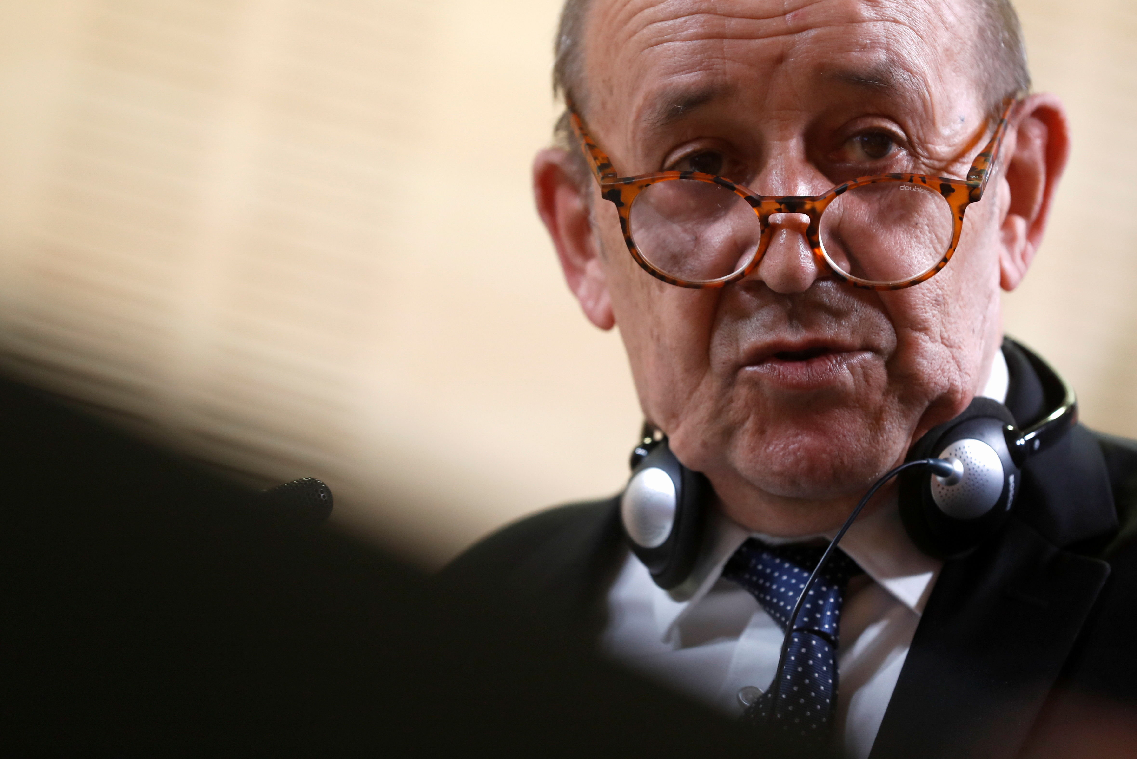 French Foreign Minister Jean-Yves Le Drian speaks during a joint news conference with Spanish Foreign Minister Arancha Gonzalez Laya after their meeting at the Foreign Ministry in Madrid, Spain, July 9, 2021. REUTERS/Susana Vera