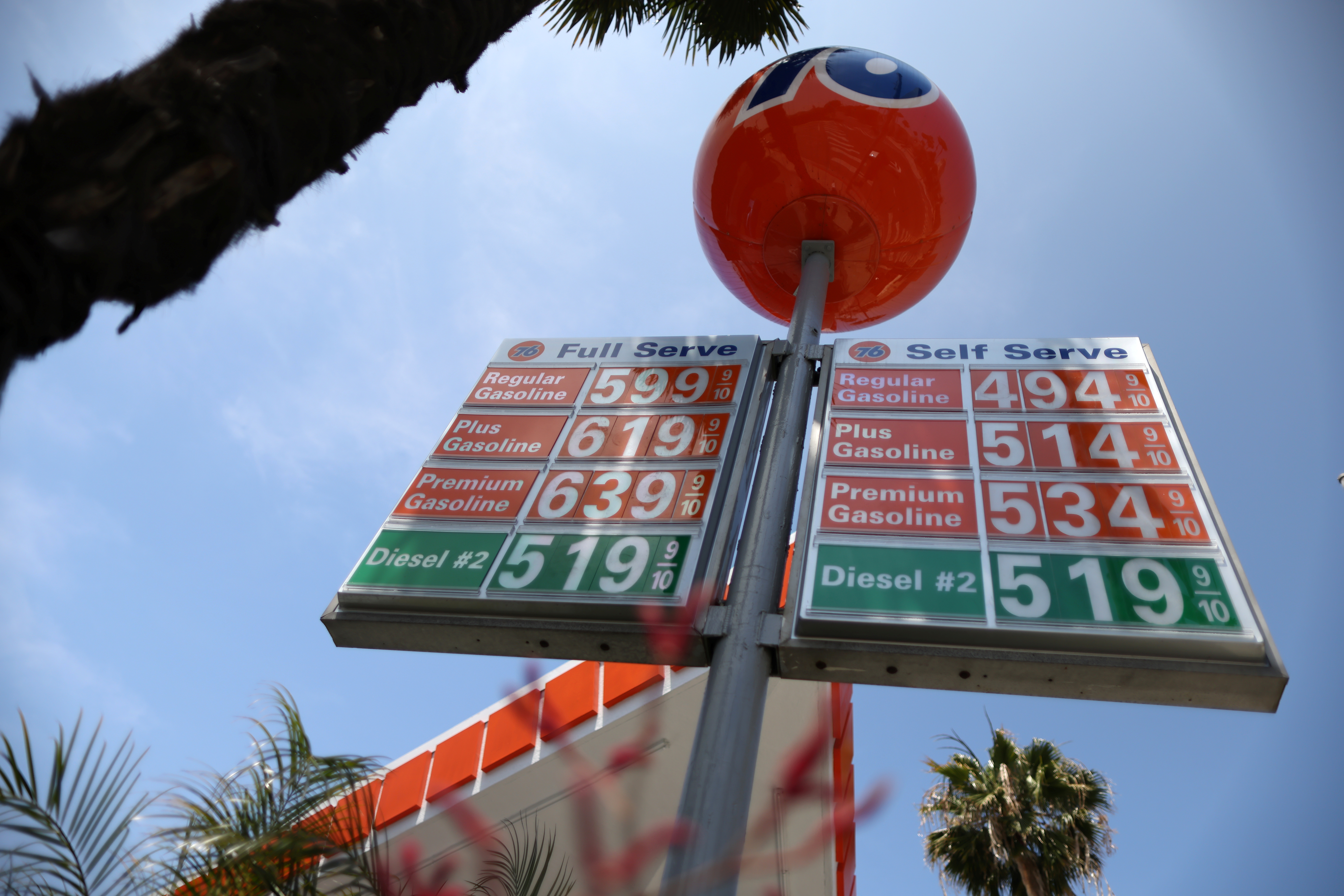Gas prices are seen after U.S. consumer prices surged in April, with a measure of underlying inflation blowing past the Federal Reserve's 2% target, in Beverly Hills, California, U.S., June 2, 2021. REUTERS/Lucy Nicholson