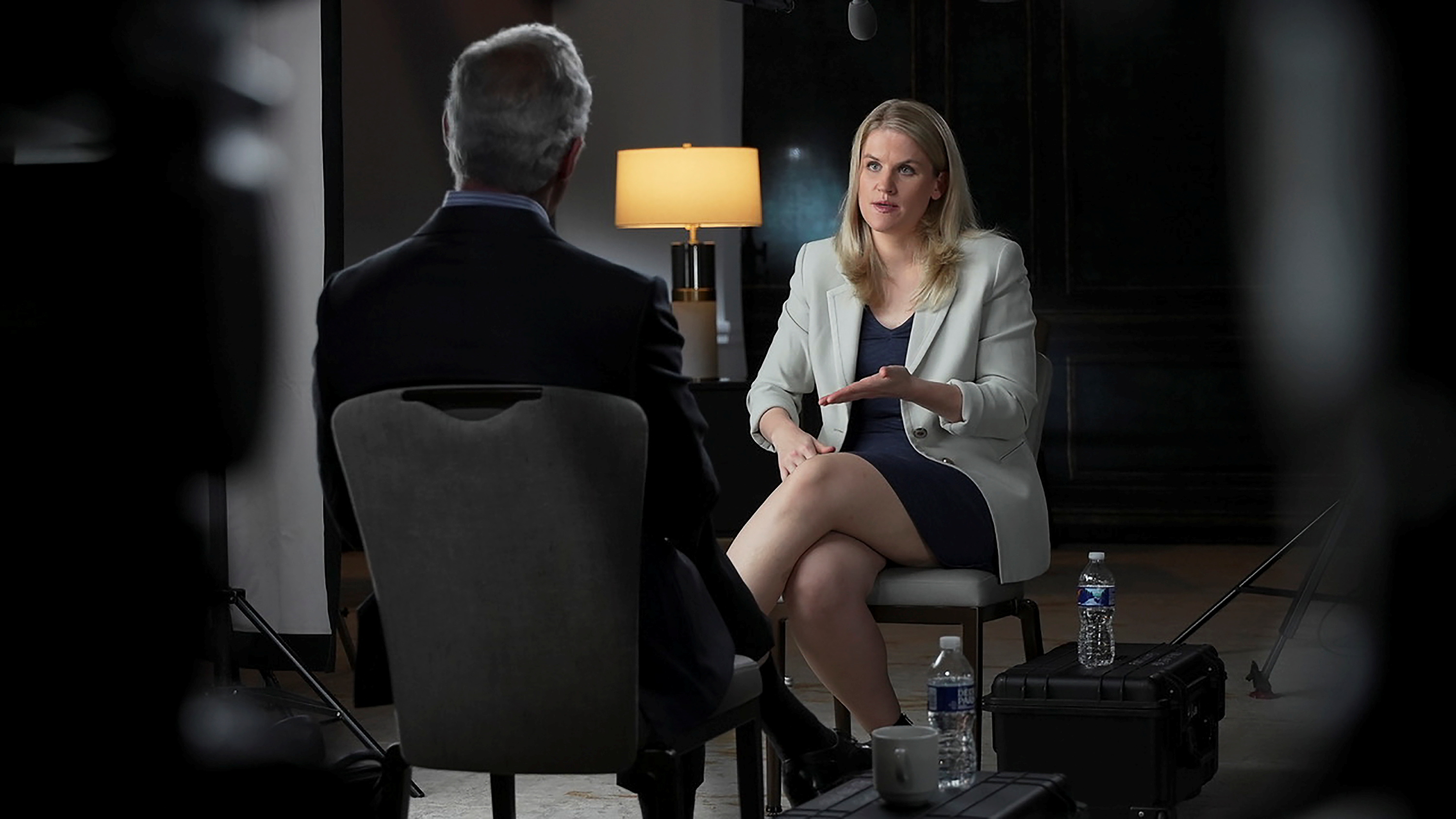 Facebook whistleblower Frances Haugen is interviewed by Scott Pelley for a CBS News 60 Minutes program in an undated photograph.  Robert Fortunato for CBS News/60MINUTES/Handout via REUTERS      NO RESALES. NO ARCHIVES. THIS IMAGE HAS BEEN SUPPLIED BY A THIRD PARTY.