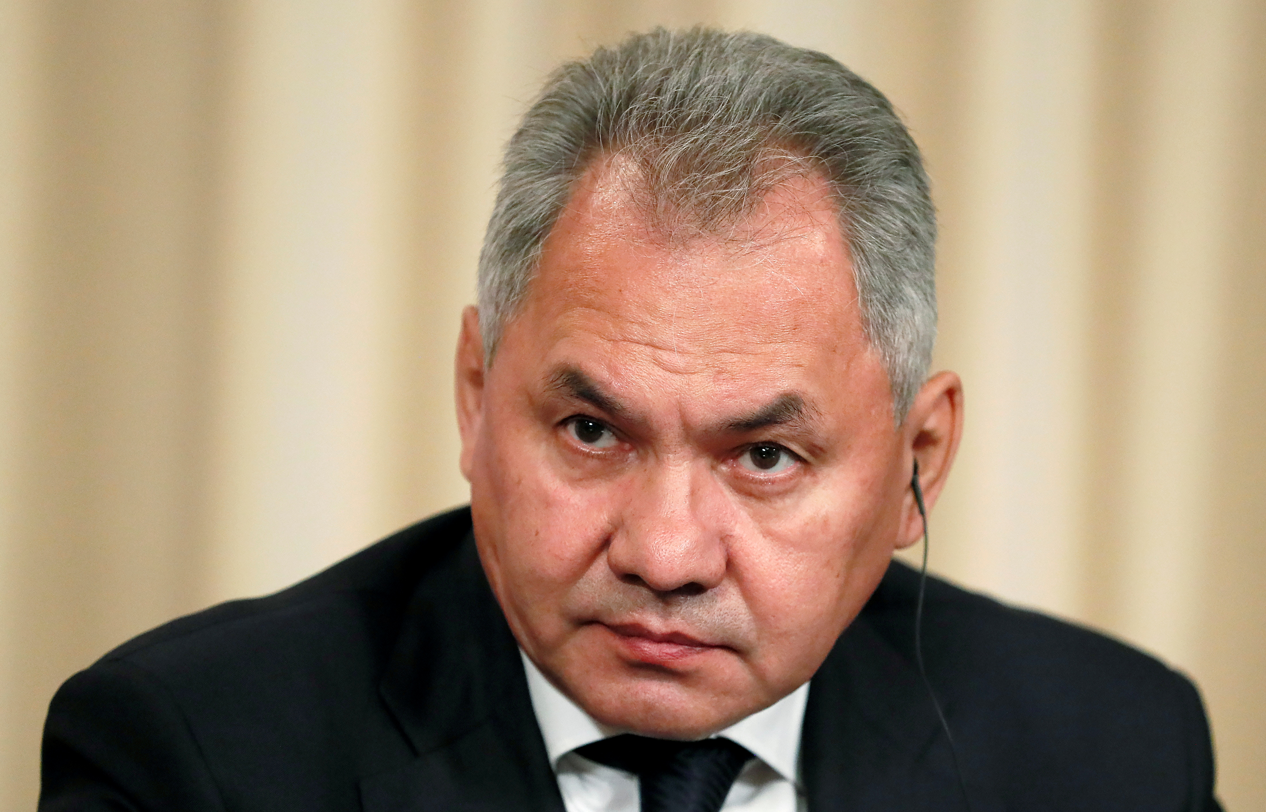 Russian Defence Minister Sergei Shoigu looks on after a meeting of the Russian-French Security Cooperation Council in Moscow, Russia, September 9, 2019.  REUTERS/Shamil Zhumatov/File Photo