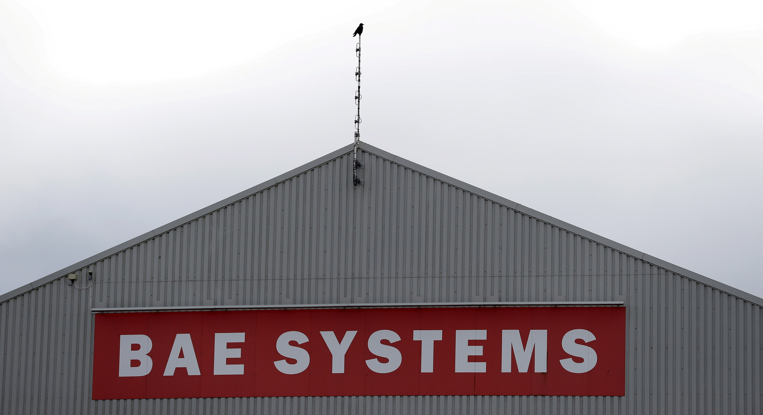 A sign adorns a hangar at the BAE Systems facility at Salmesbury, near Preston, northern England March 10, 2016.  REUTERS/Phil Noble/File Photo  GLOBAL BUSINESS WEEK AHEAD