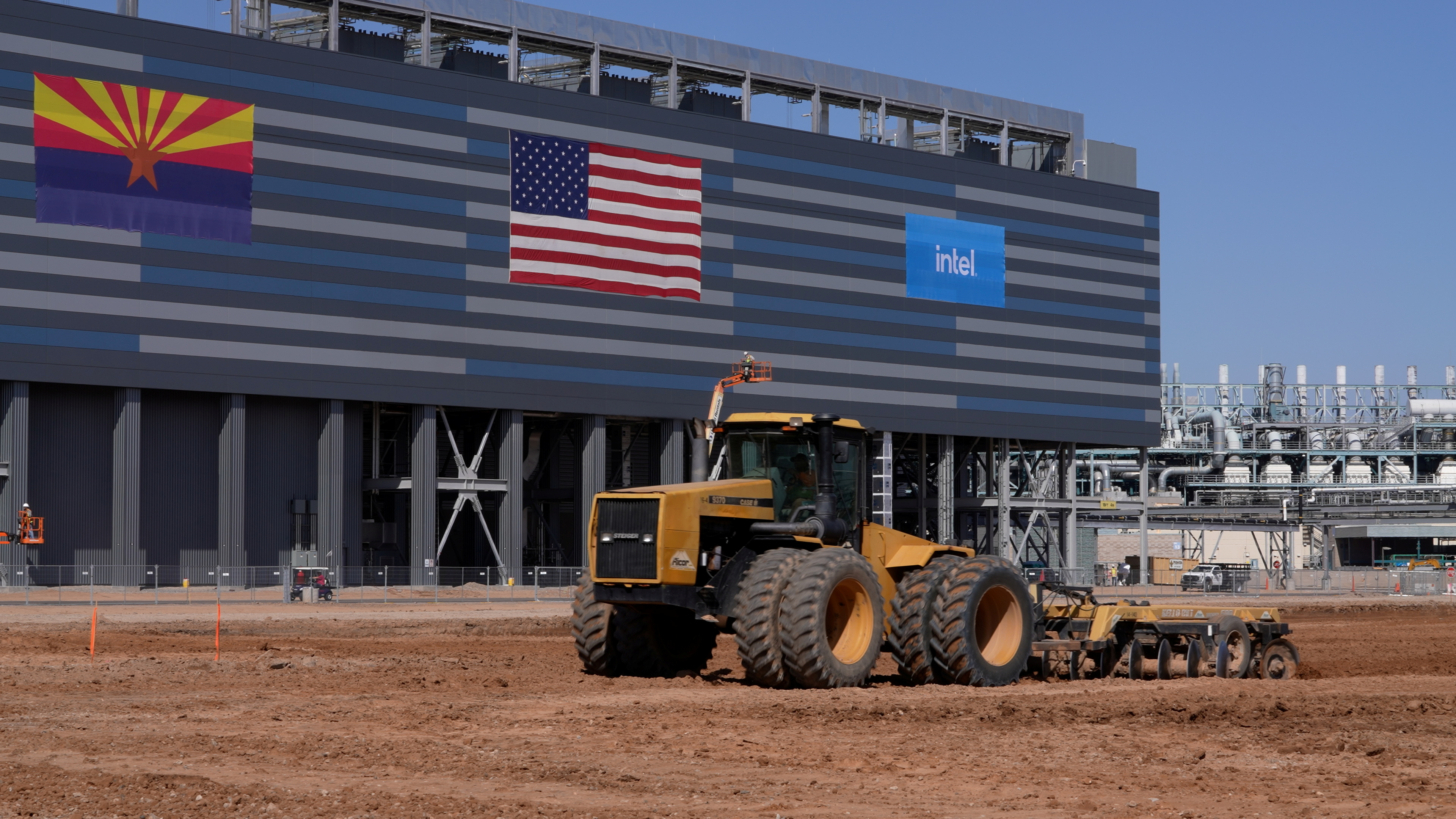 A handout photo shows construction equipment at the site of a future Intel Corp chip factory in Chandler, Arizona, U.S., September 23, 2021. Picture taken September 23, 2021.  Courtesy of Intel Corp/Handout via REUTERS.