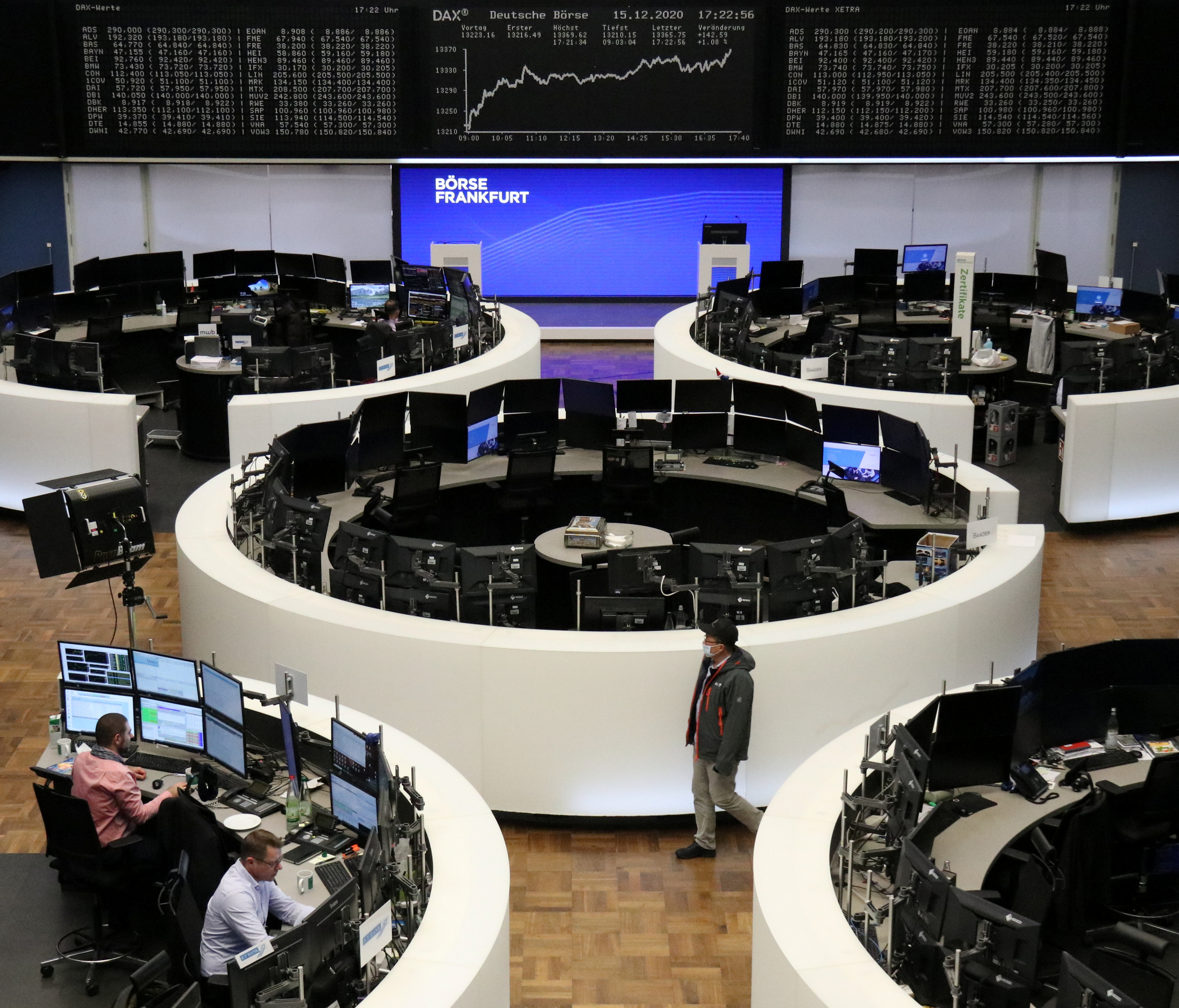 The German share price index DAX graph is pictured at the stock exchange in Frankfurt, Germany, December 15, 2020. REUTERS/Staff