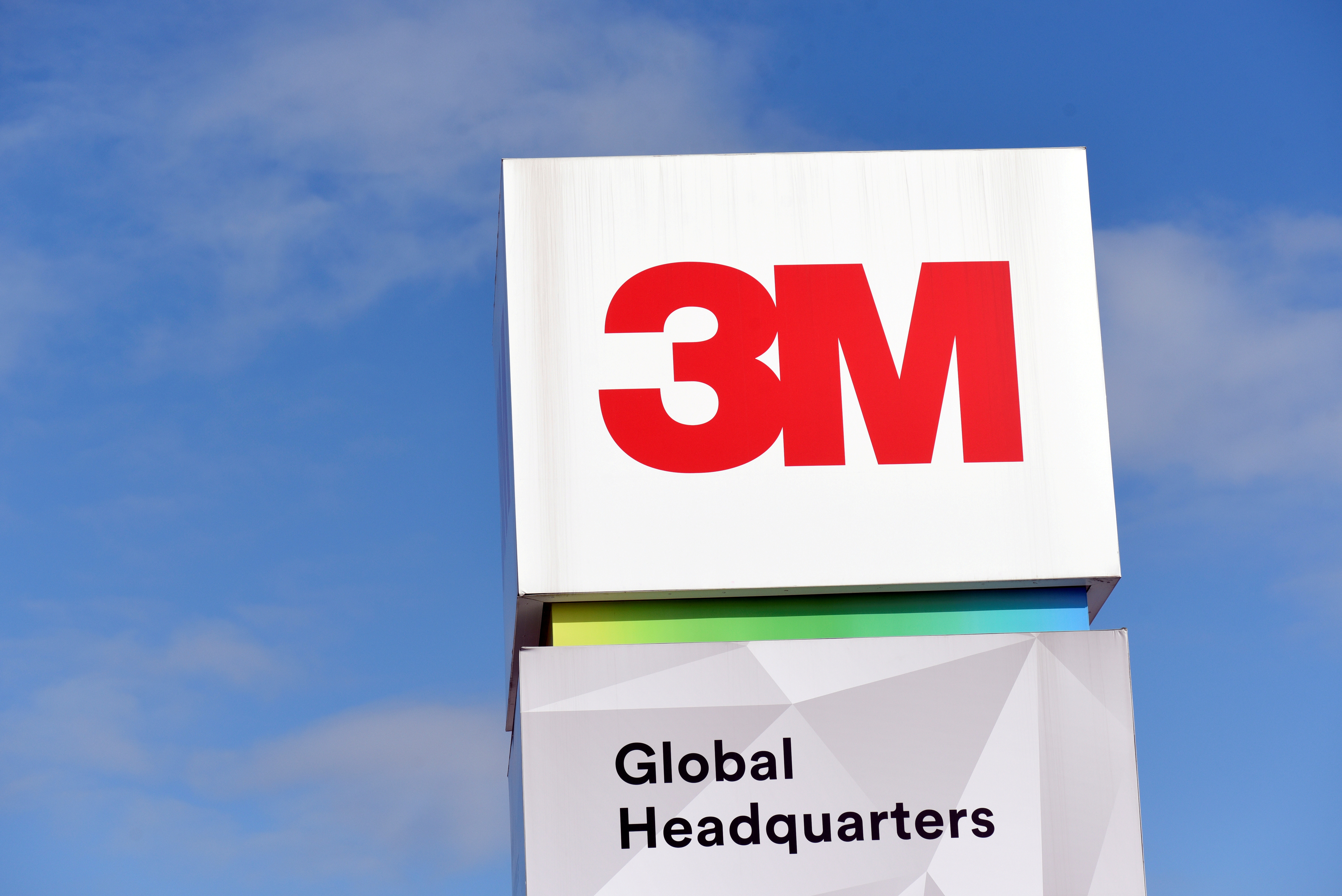The 3M logo is seen at its global headquarters in Maplewood, Minnesota, U.S. on March 4, 2020.  REUTERS/Nicholas Pfosi