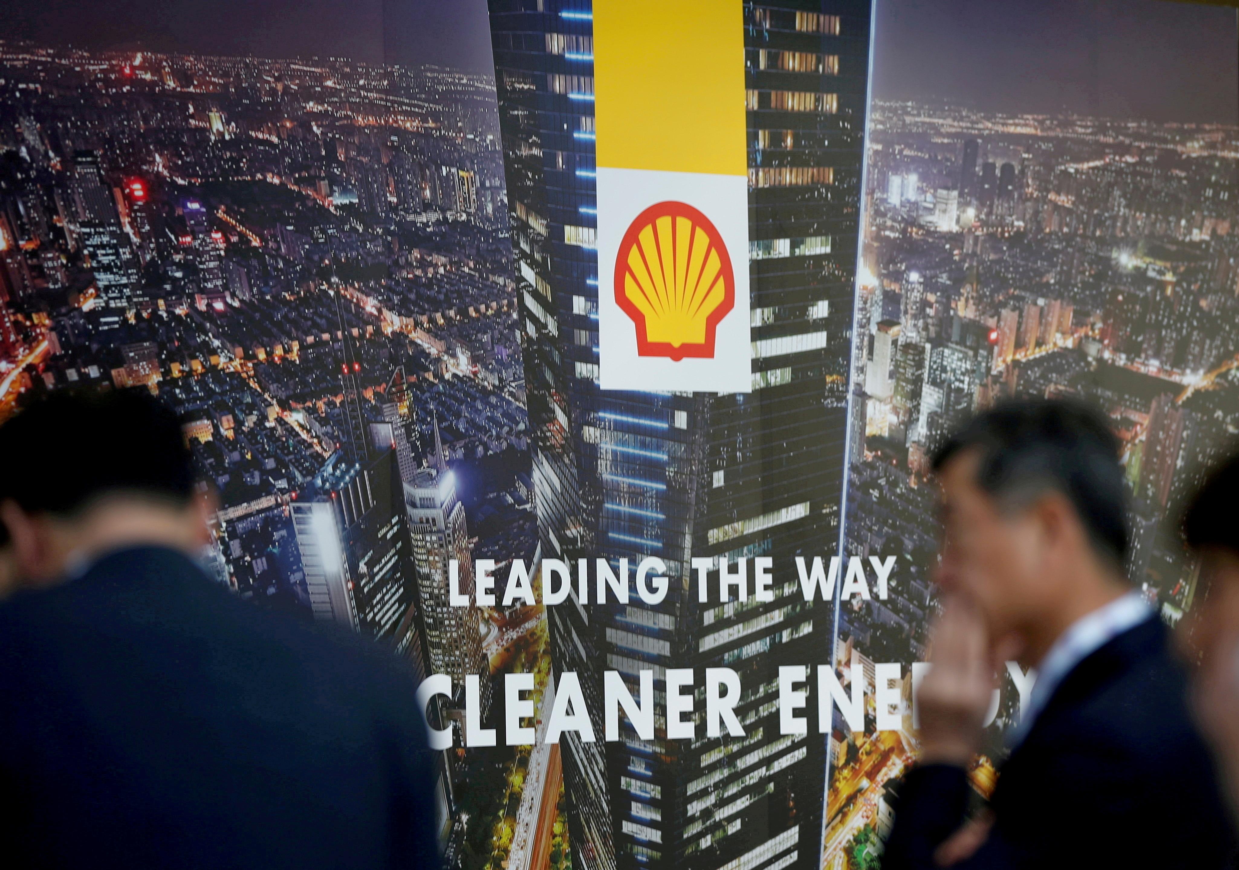 A logo of Royal Dutch Shell is seen at Gastech,, in Chiba, Japan, April 4, 2017.    REUTERS/Toru Hanai/File Photo