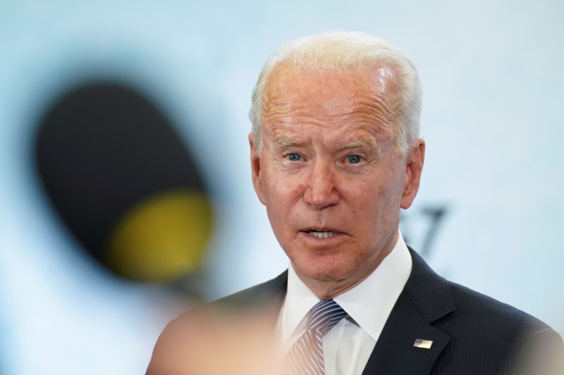 U.S. President Joe Biden speaks during a news conference at the end of the G7 summit, at Cornwall Airport Newquay, Britain, June 13, 2021. REUTERS/Kevin Lamarque