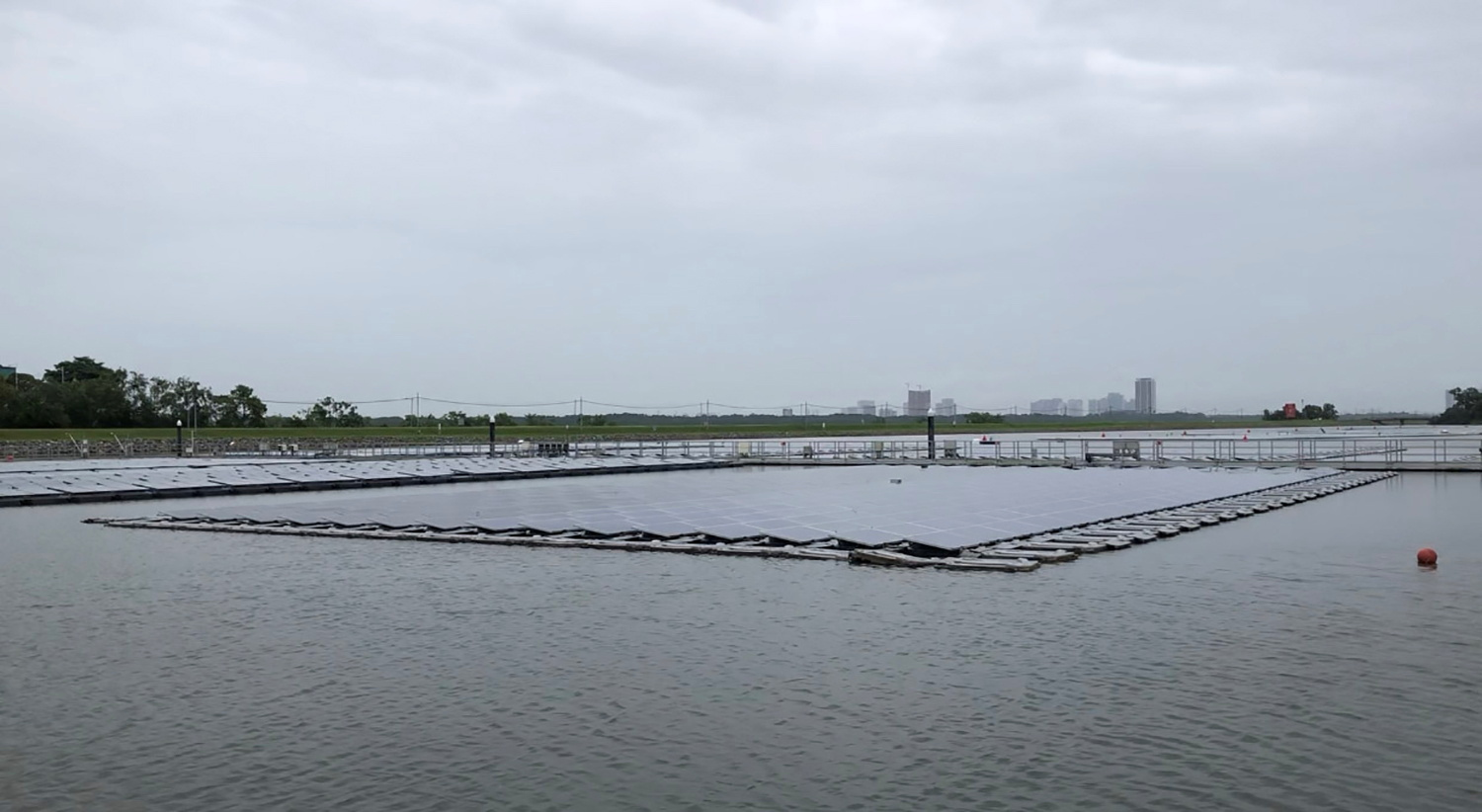General view of one of the world's largest floating solar panel farms in Singapore, July 13, 2021, in this still image taken from video. REUTERS/Chen Lin