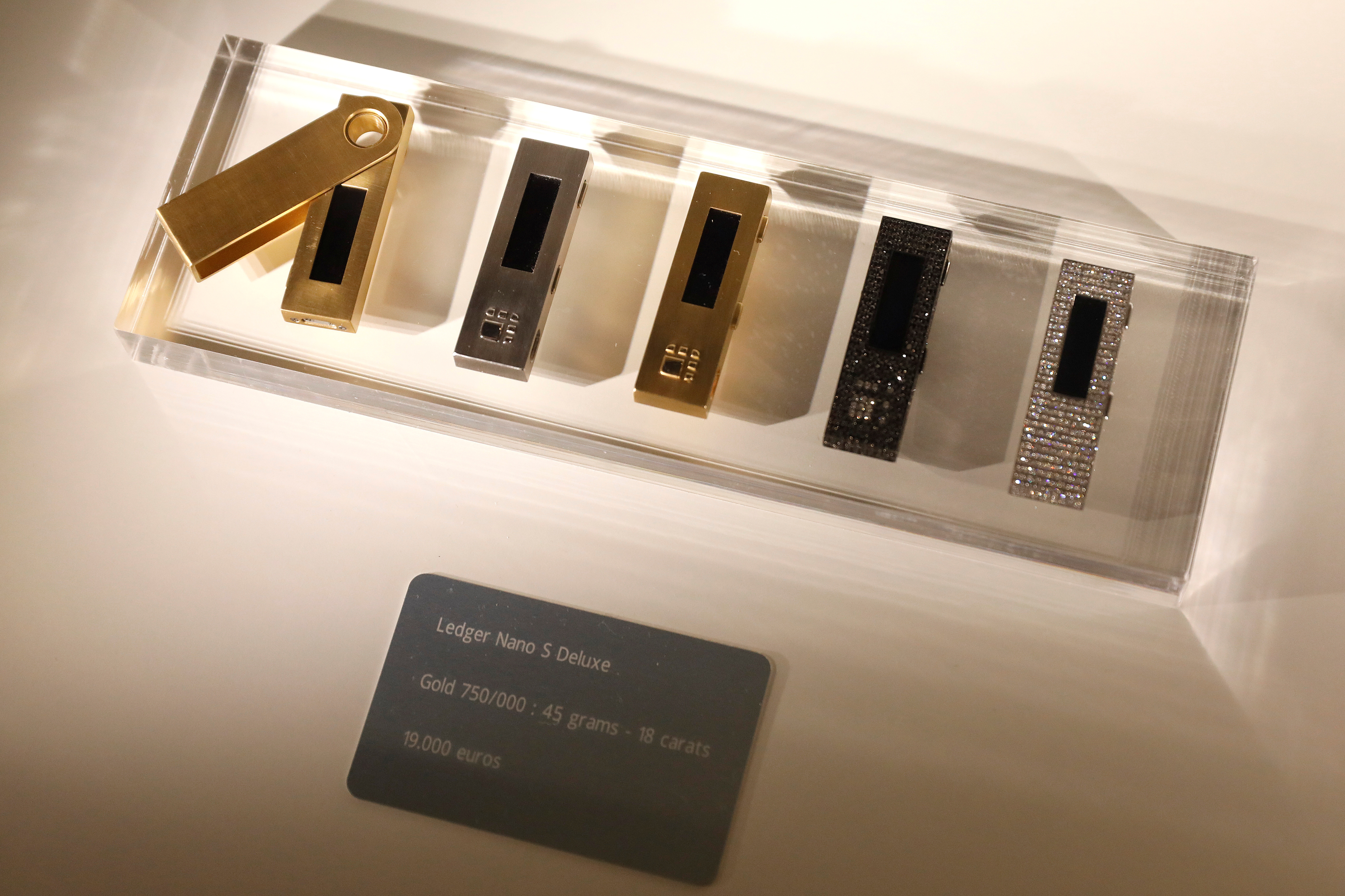 Ledger Nano S cryptocurrency hardware wallets are seen for sale on the floor of the Consensus 2018 blockchain technology conference in New York City, New York, U.S., May 16, 2018. REUTERS/Mike Segar