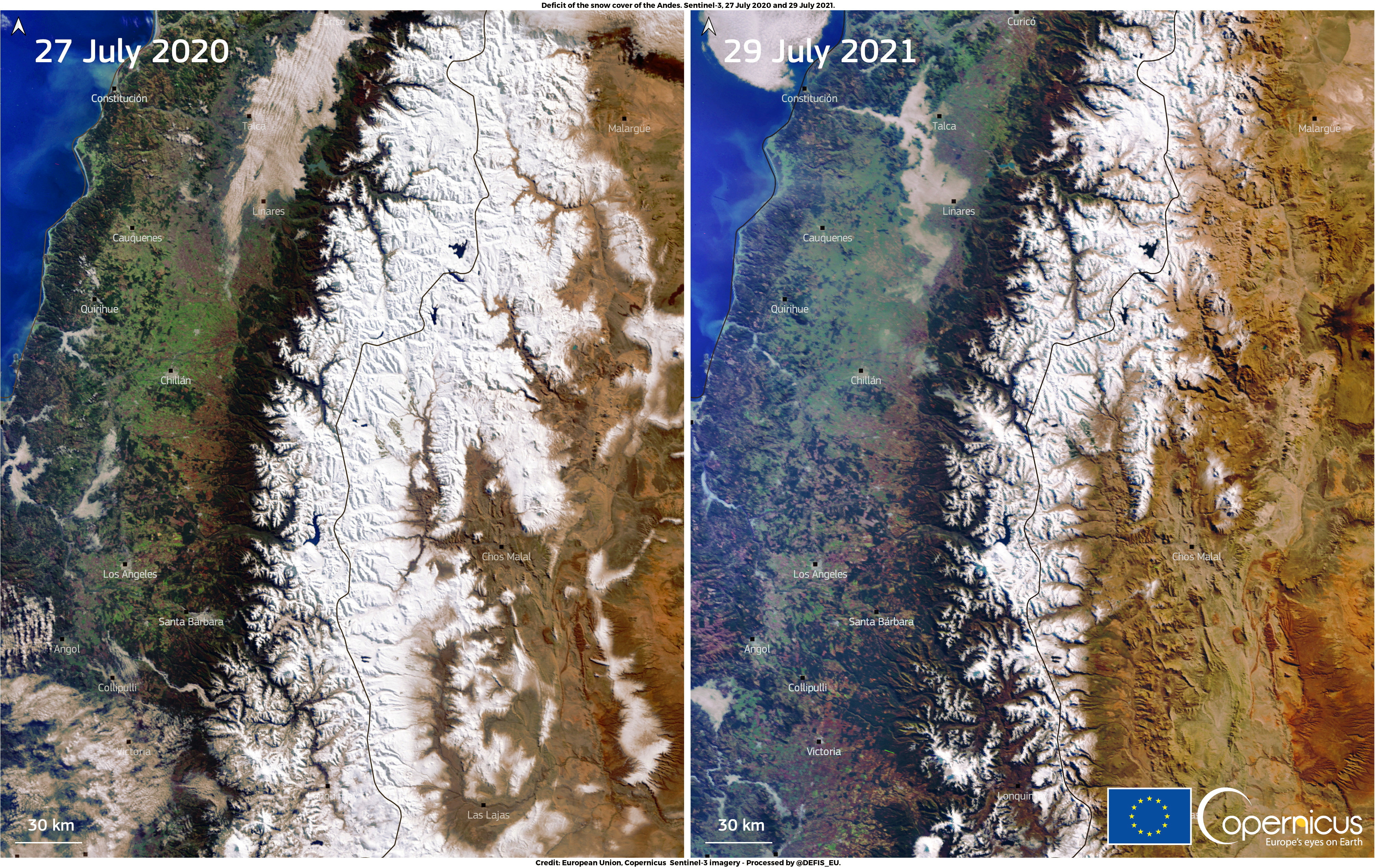A combination of images, acquired by one of the Copernicus Sentinel-3 satellites, shows the snow deficit affecting the Andes mountain range in South America. Pictures taken July 27, 2020 and July 29, 2021. European Union, Copernicus Sentinel-3 Imagery, Processed By DG DEFIS/Handout via REUTERS
