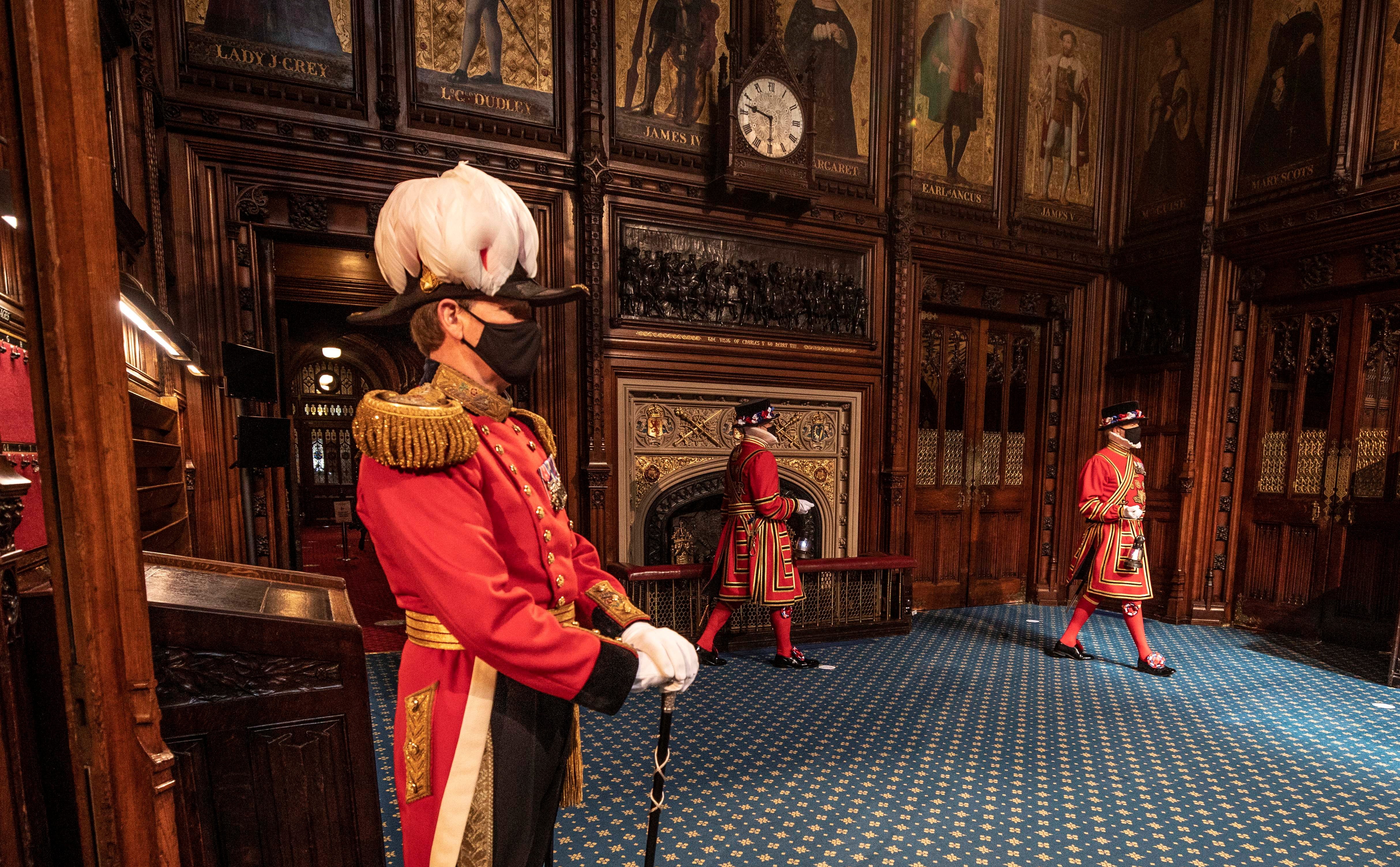 Yeoman Warders march into the Prince's chamber during the reduced ceremonial search which is the opening event of the annual State Opening of Parliament in London, Britain May 11, 2021. Richard Pohle/Pool via REUTERS