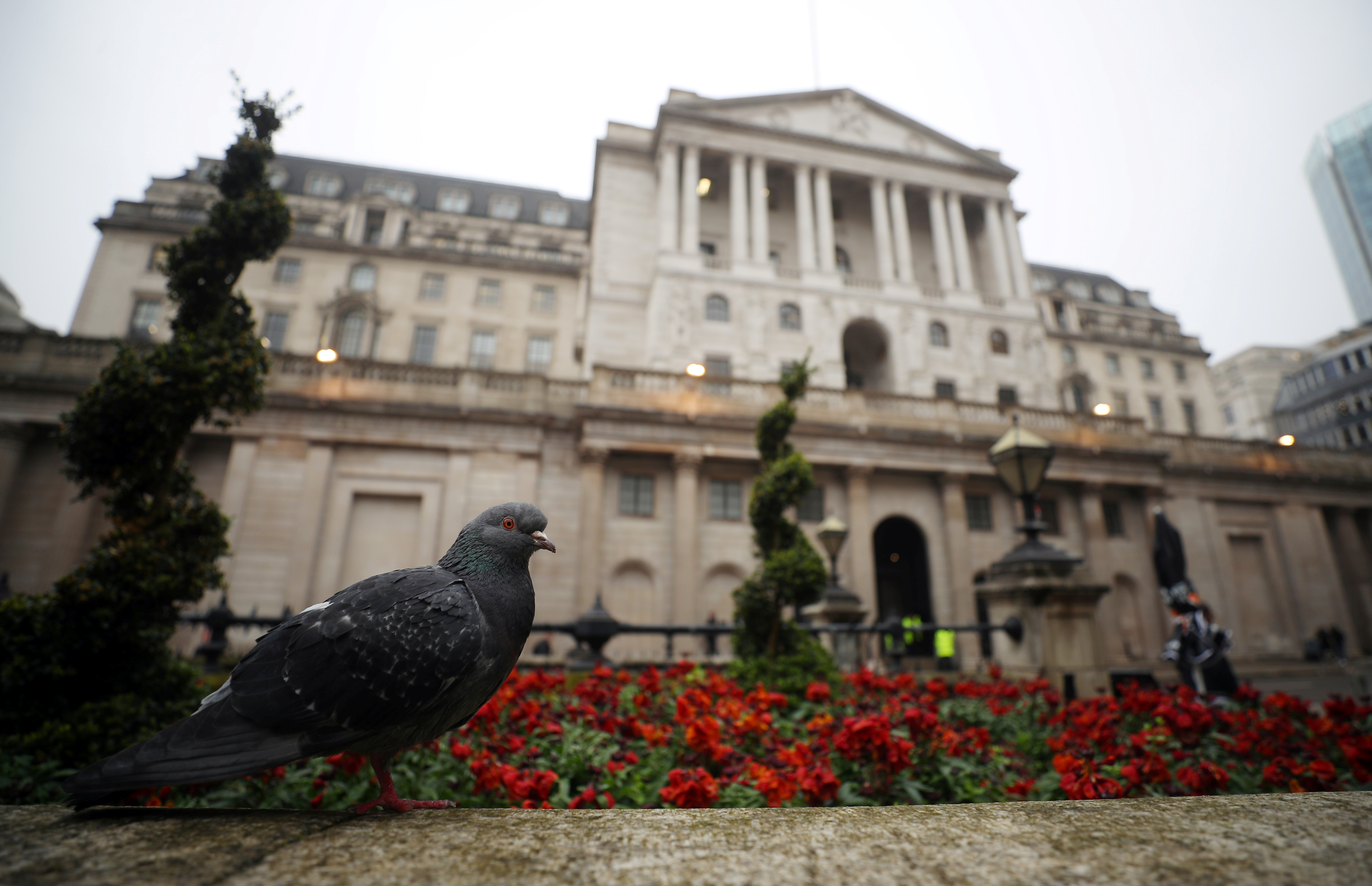 A pigeon stands in front of the Bank of England in London, Britain, April 9, 2018. REUTERS/Hannah McKay