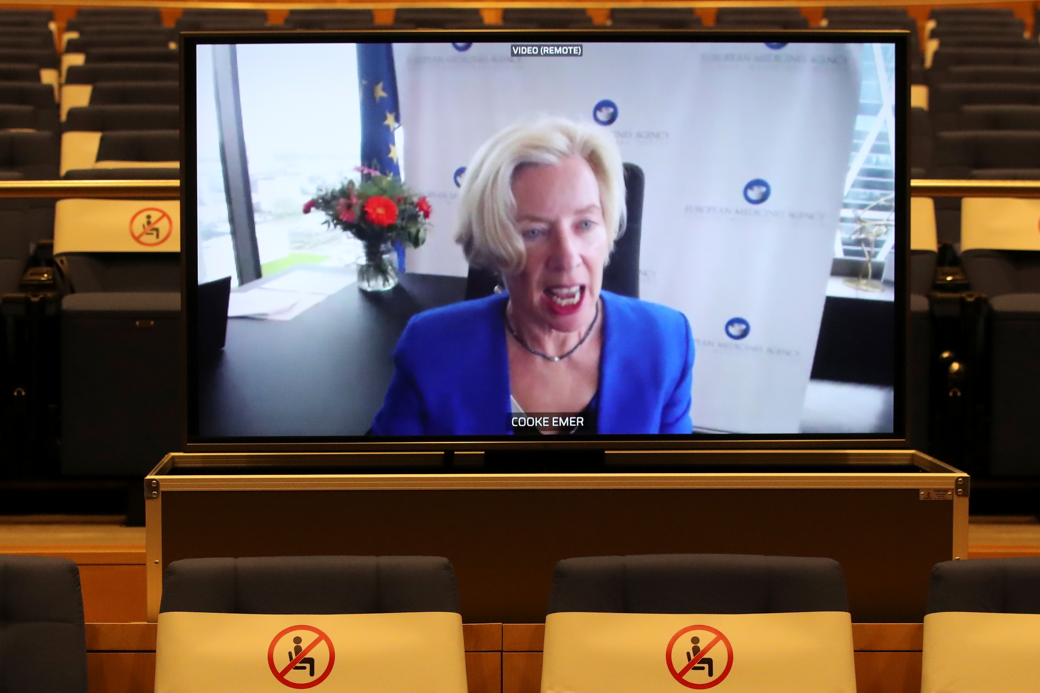 European Medicines Agency Executive Director, Emer Cooke, appears on screen during on videoconference in Brussels, Belgium March 16, 2021. REUTERS/Yves Herman/Pool