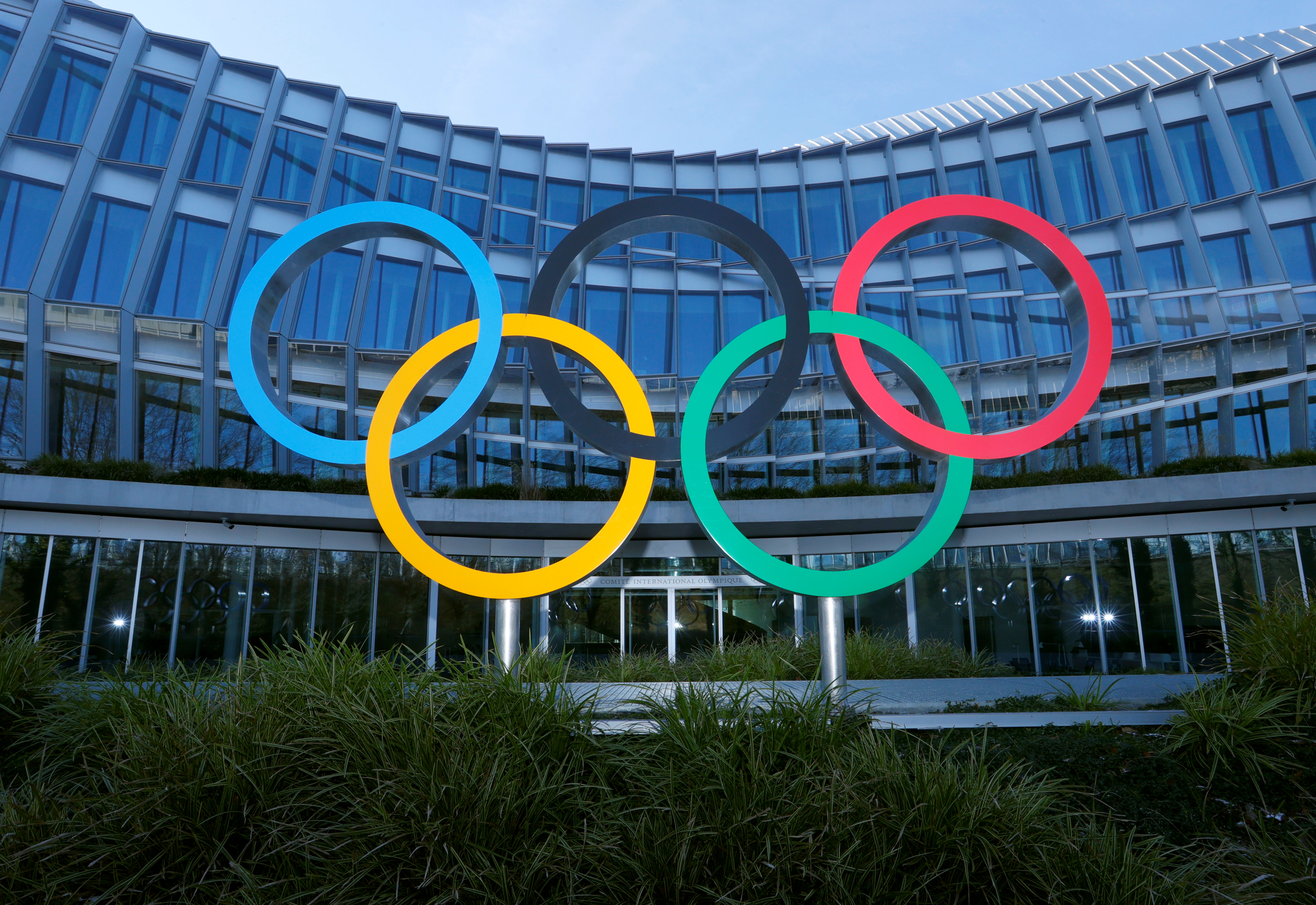 The Olympic rings are pictured in front of the International Olympic Committee (IOC) headquarters during the coronavirus disease (COVID-19) outbreak in Lausanne, Switzerland, January 26, 2021. REUTERS/Denis Balibouse/Files