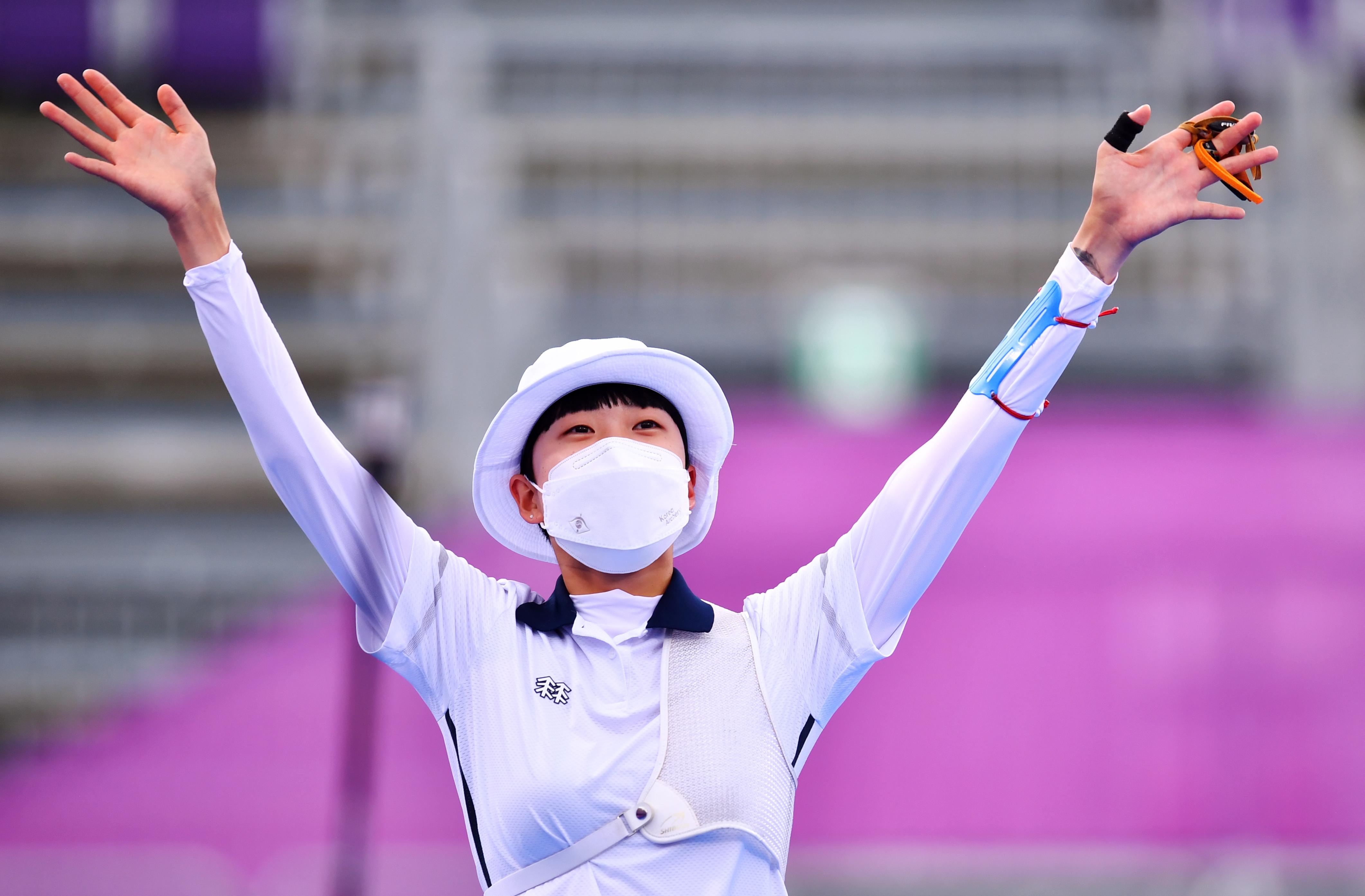 Tokyo 2020 Olympics - Archery - Women's Individual - Gold medal match - Yumenoshima Archery Field, Tokyo, Japan - July 30, 2021. An San of South Korea celebrates after winning gold REUTERS/Clodagh Kilcoyne