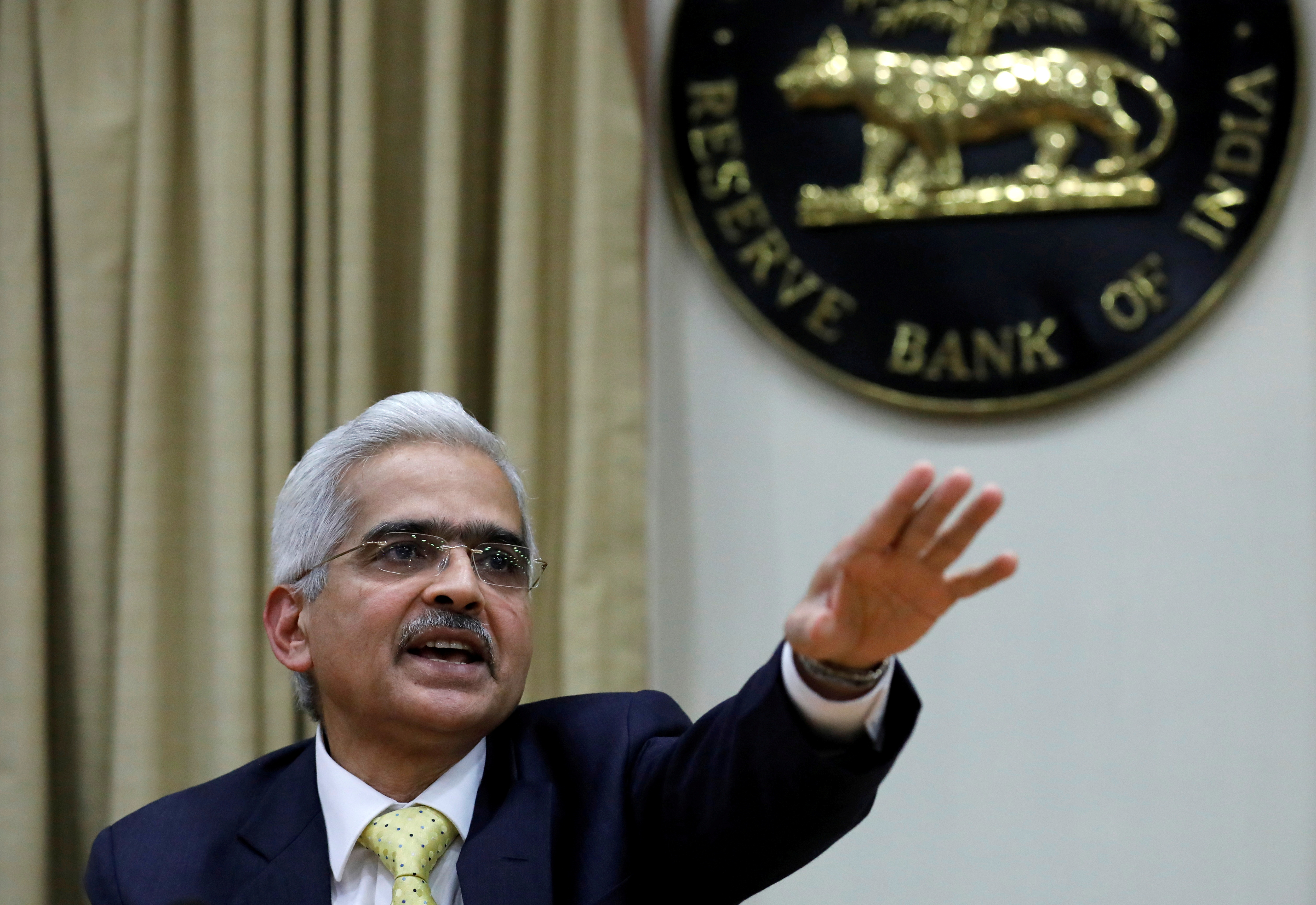 Shaktikanta Das, Reserve Bank of India (RBI) Governor, gestures as he attends a news conference in Mumbai, India, December 12, 2018. REUTERS/Danish Siddiqui