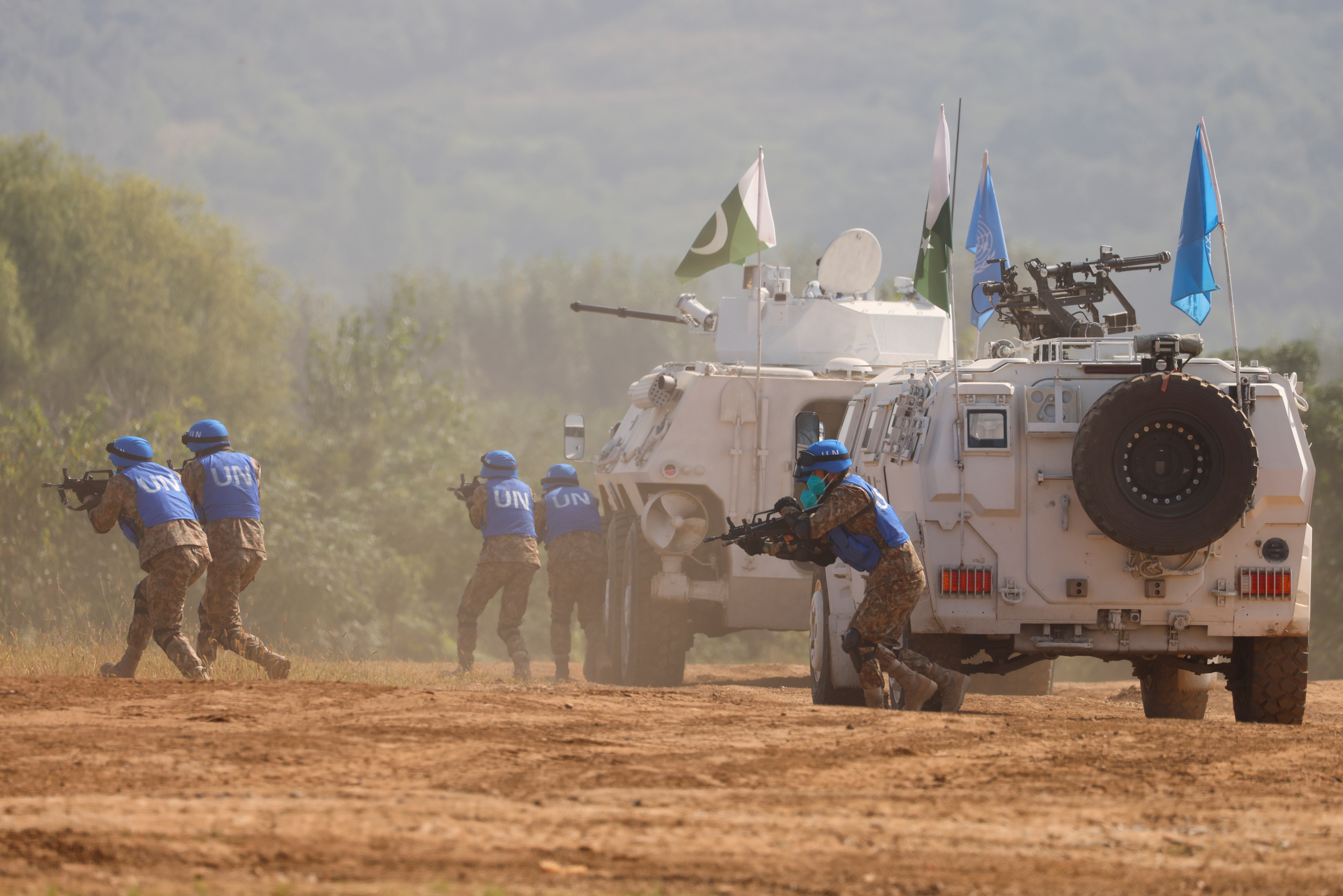 Pakistan soldiers take part in a multinational U.N. peacekeeping military exercise with troops of the Chinese People's Liberation Army (PLA), Mongolia and Thailand, on the outskirts of Zhumadian, Henan province, China September 15, 2021. REUTERS/Carlos Garcia Rawlins
