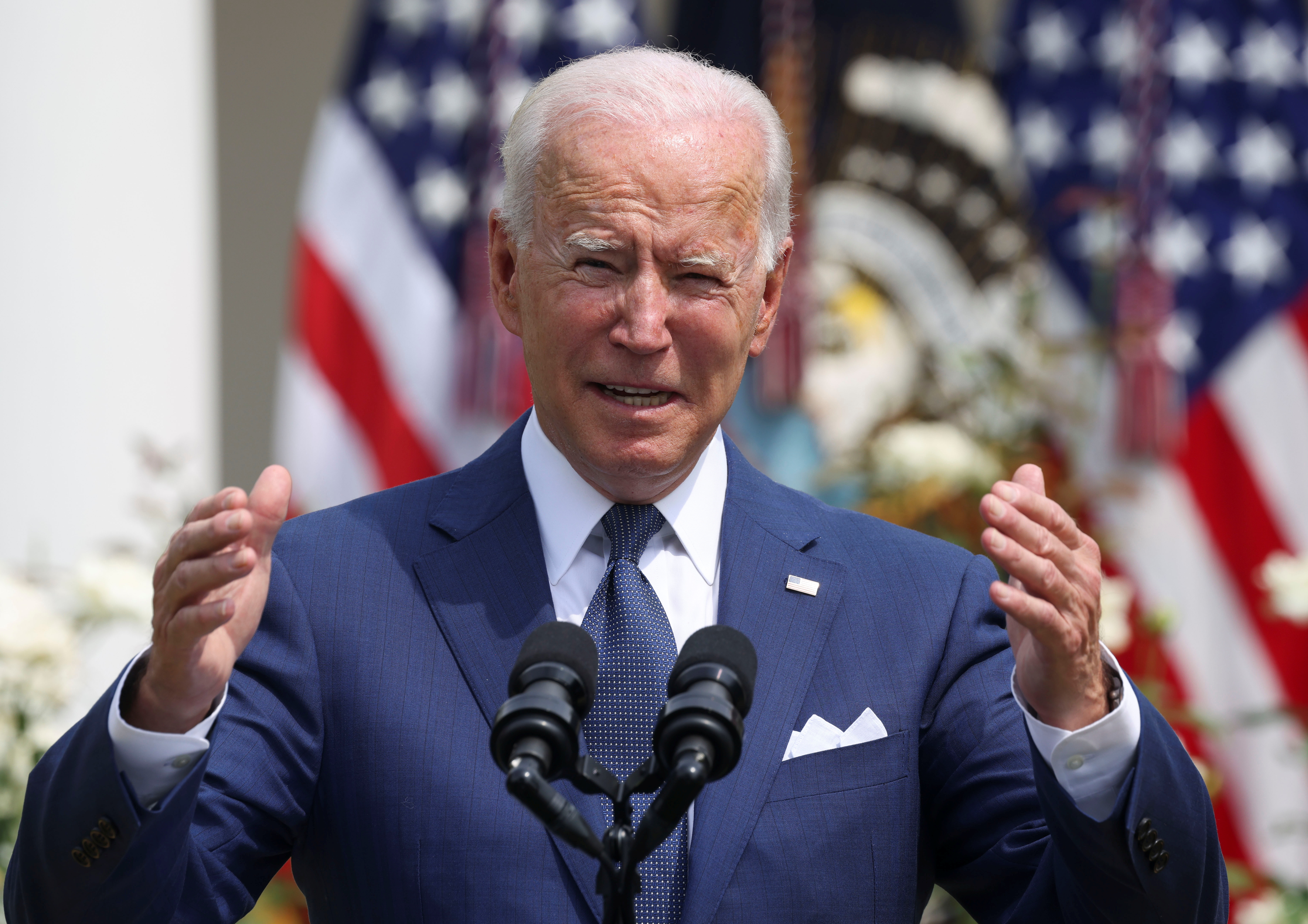 U.S. President Joe Biden delivers remarks during an event to celebrate the 31st anniversary of the Americans with Disabilities Act (ADA) in the White House Rose Garden in Washington, U.S., July 26, 2021. REUTERS/Evelyn Hockstein