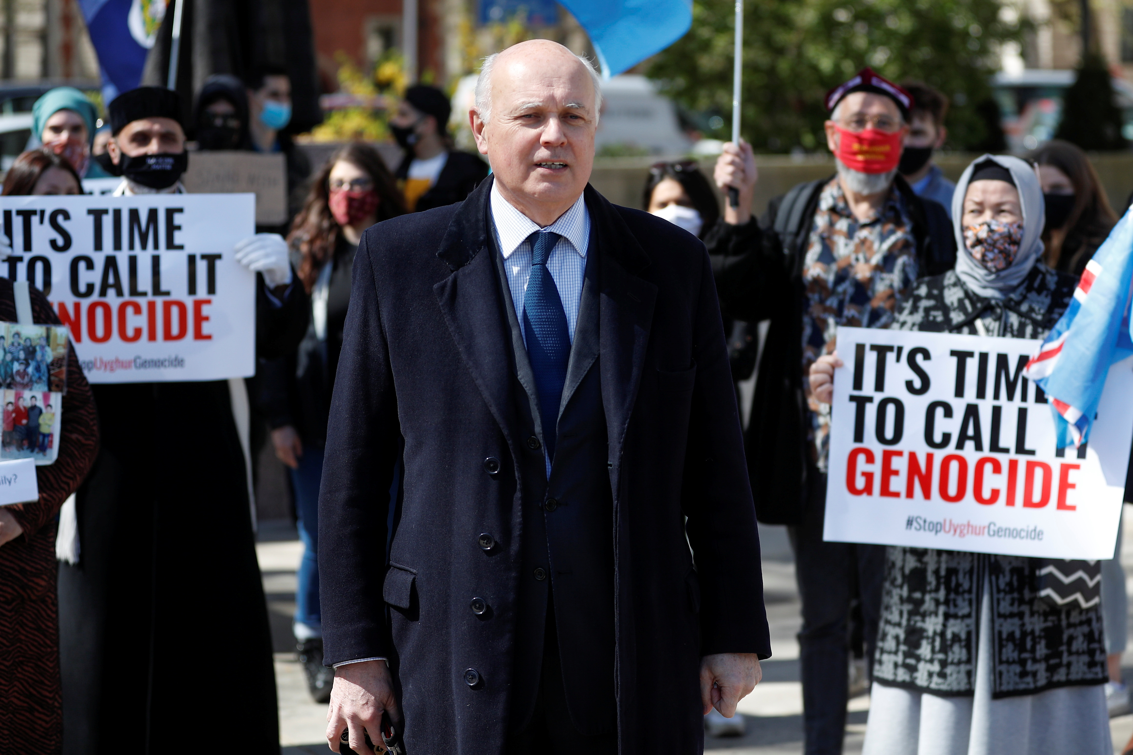 Britain's Conservative MP Iain Duncan Smith attends a protest against Uyghur genocide, in London, Britain April 22, 2021. REUTERS/Peter Nicholls