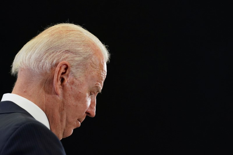U.S. President Joe Biden holds a news conference at the end of the G7 summit, at Cornwall Airport Newquay, Britain, June 13, 2021. REUTERS/Kevin Lamarque