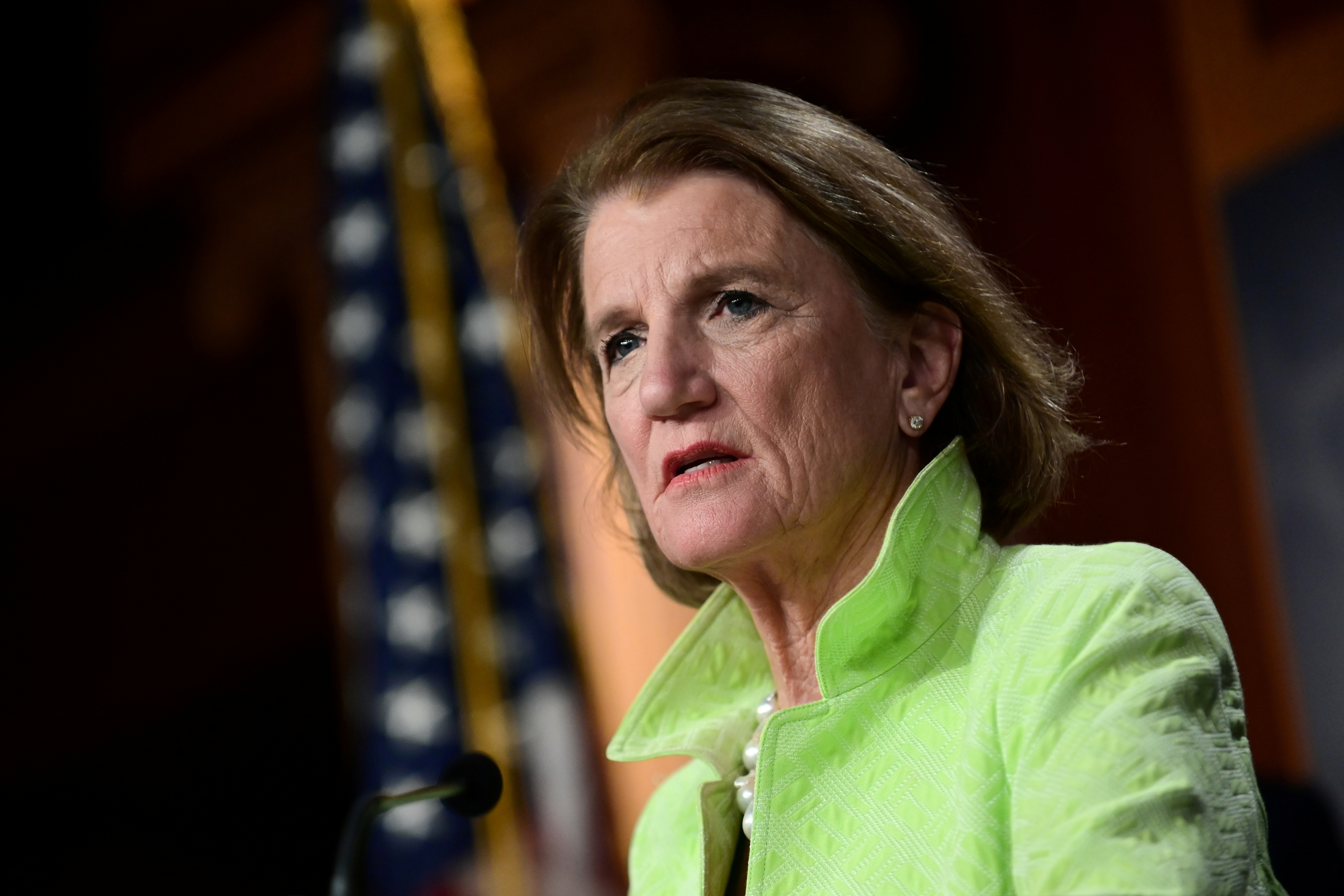Shelley Capito (R-WV) looks on during a news conference to introduce the Republican infrastructure plan, at the U.S. Capitol in Washington, U.S., April 22, 2021. REUTERS/Erin Scott