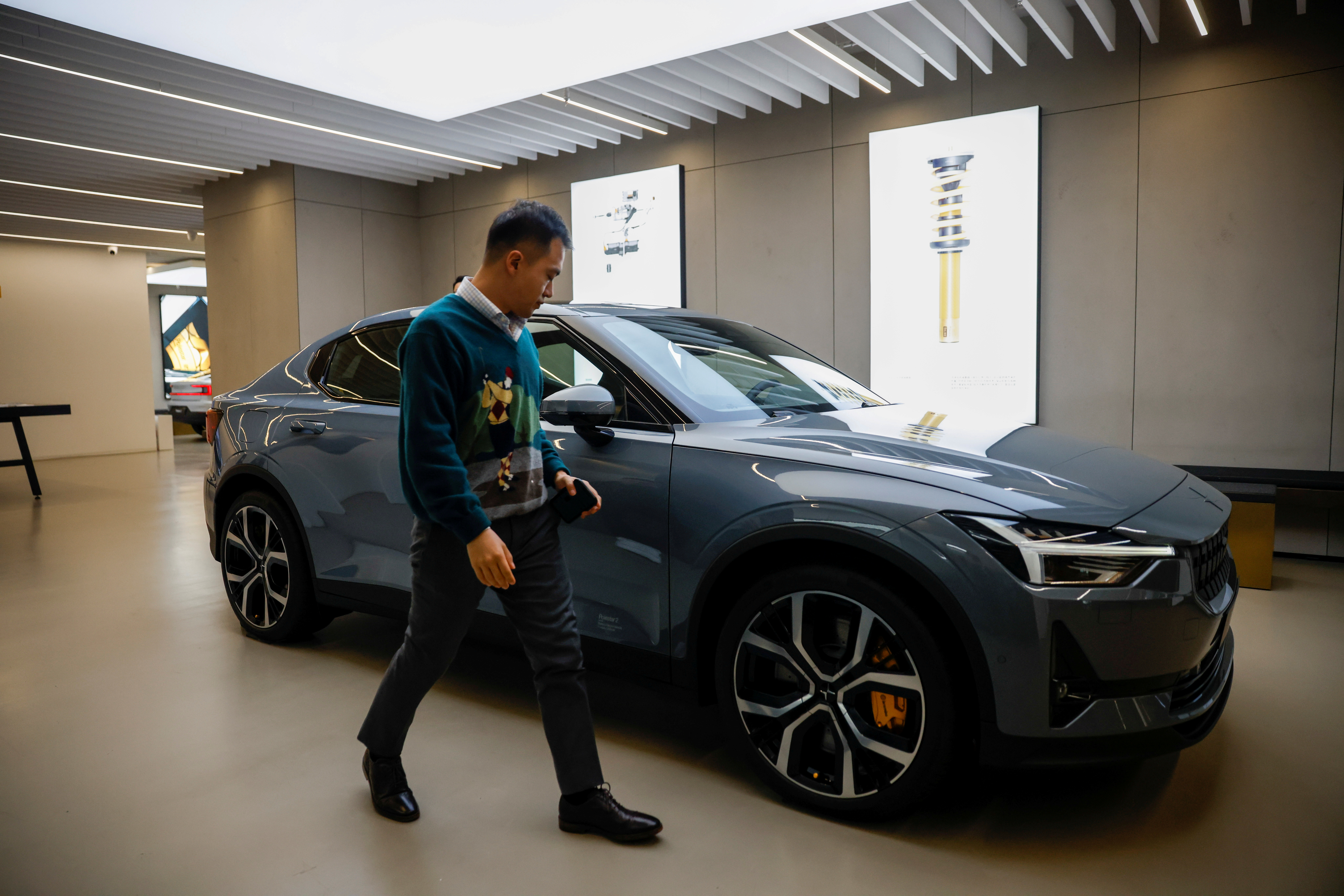 The Polestar 2 electric car is displayed at a company store in Shanghai, China March 8, 2021. REUTERS/Aly Song/File Photo