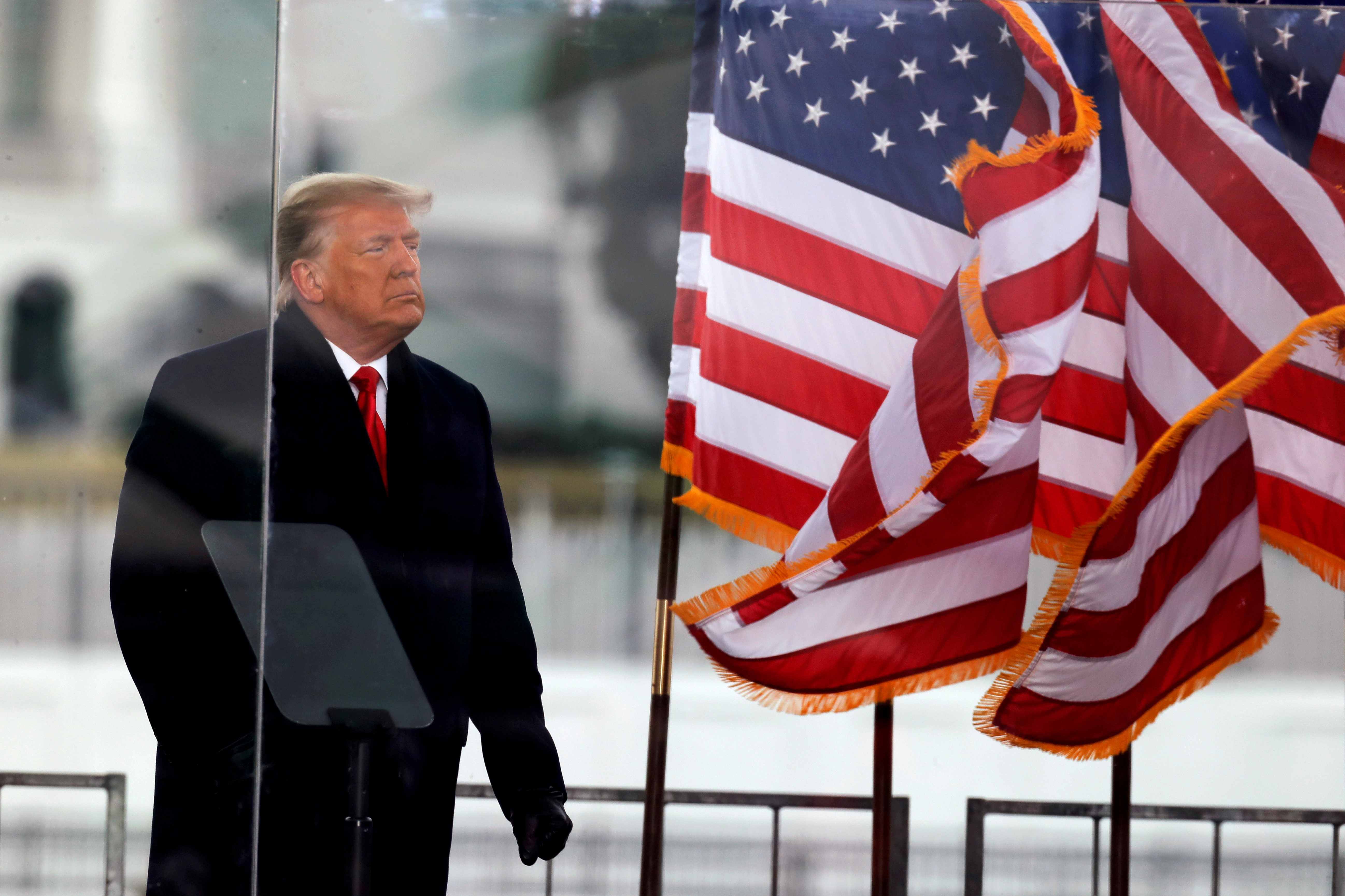 U.S. President Donald Trump looks on at the end of his speech during a rally to contest the certification of the 2020 U.S. presidential election results by the U.S. Congress, in Washington, U.S, January 6, 2021. REUTERS/Jim Bourg/File Photo