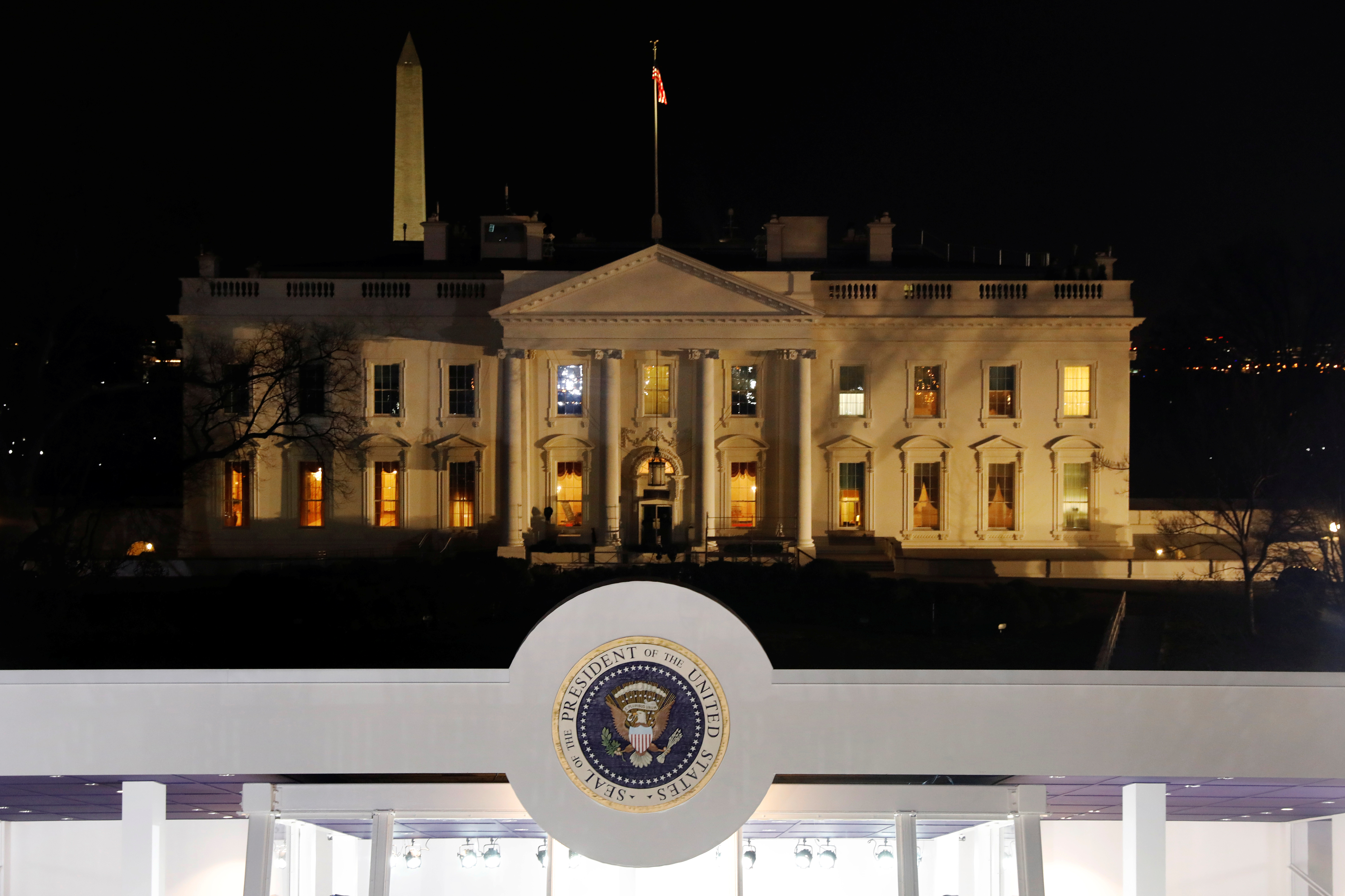 The presidential seal is seen in front of the White House on Pennsylvania Avenue in Washington, U.S., January 20, 2017.  REUTERS/Lucas Jackson