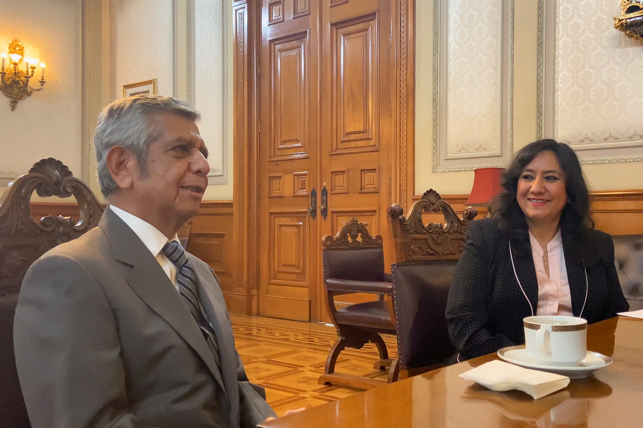 Newly appointed head of the Public Administration Ministry (SFP) Roberto Saucedo and outgoing minister Irma Sandoval attend a meeting with Mexican President Andres Manuel Lopez Obrador (not pictured) at the National Palace in Mexico City, Mexico June 21, 2021. Mexico's Presidency/Handout via REUTERS